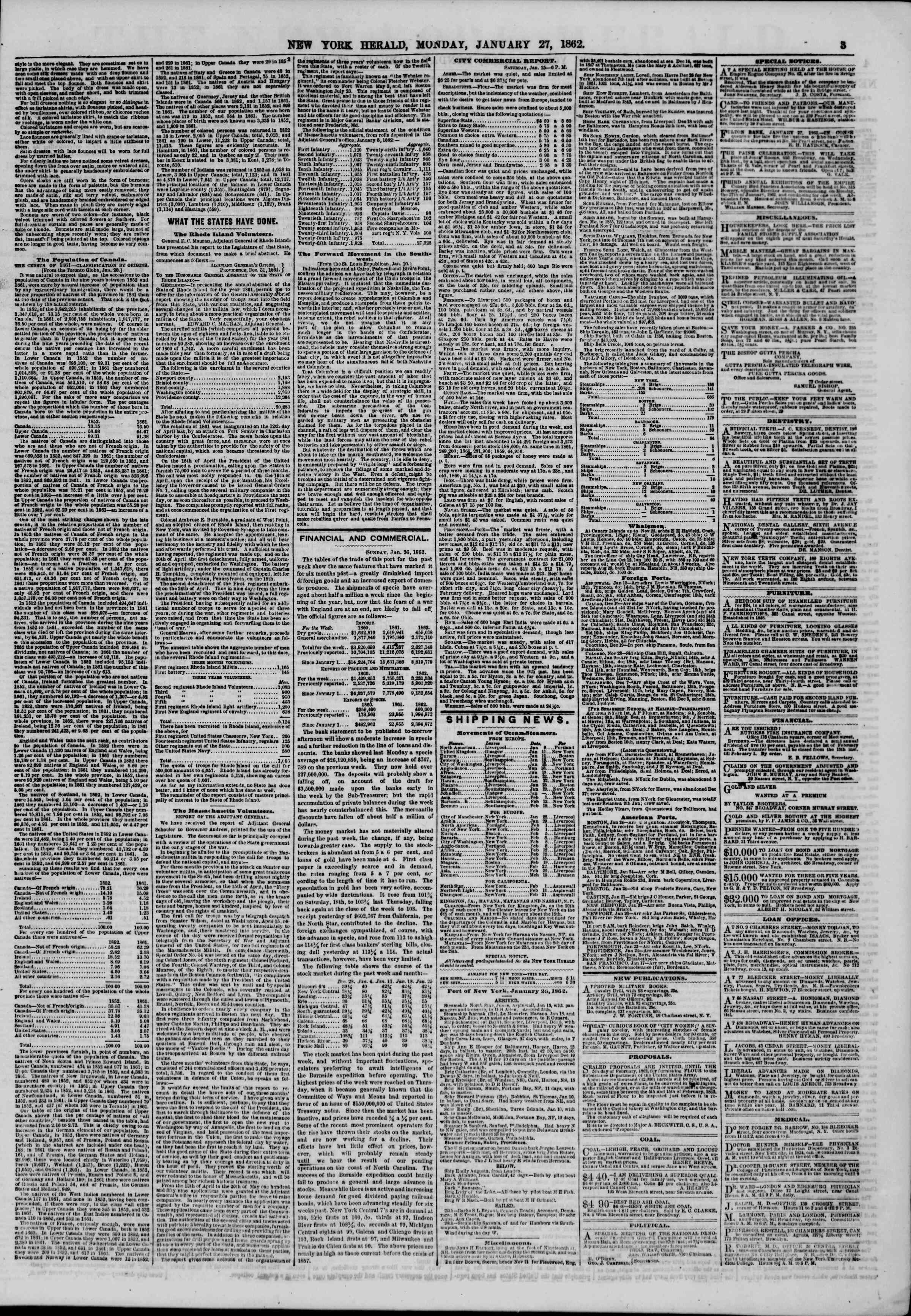 Newspaper of The New York Herald dated January 27, 1862 Page 3