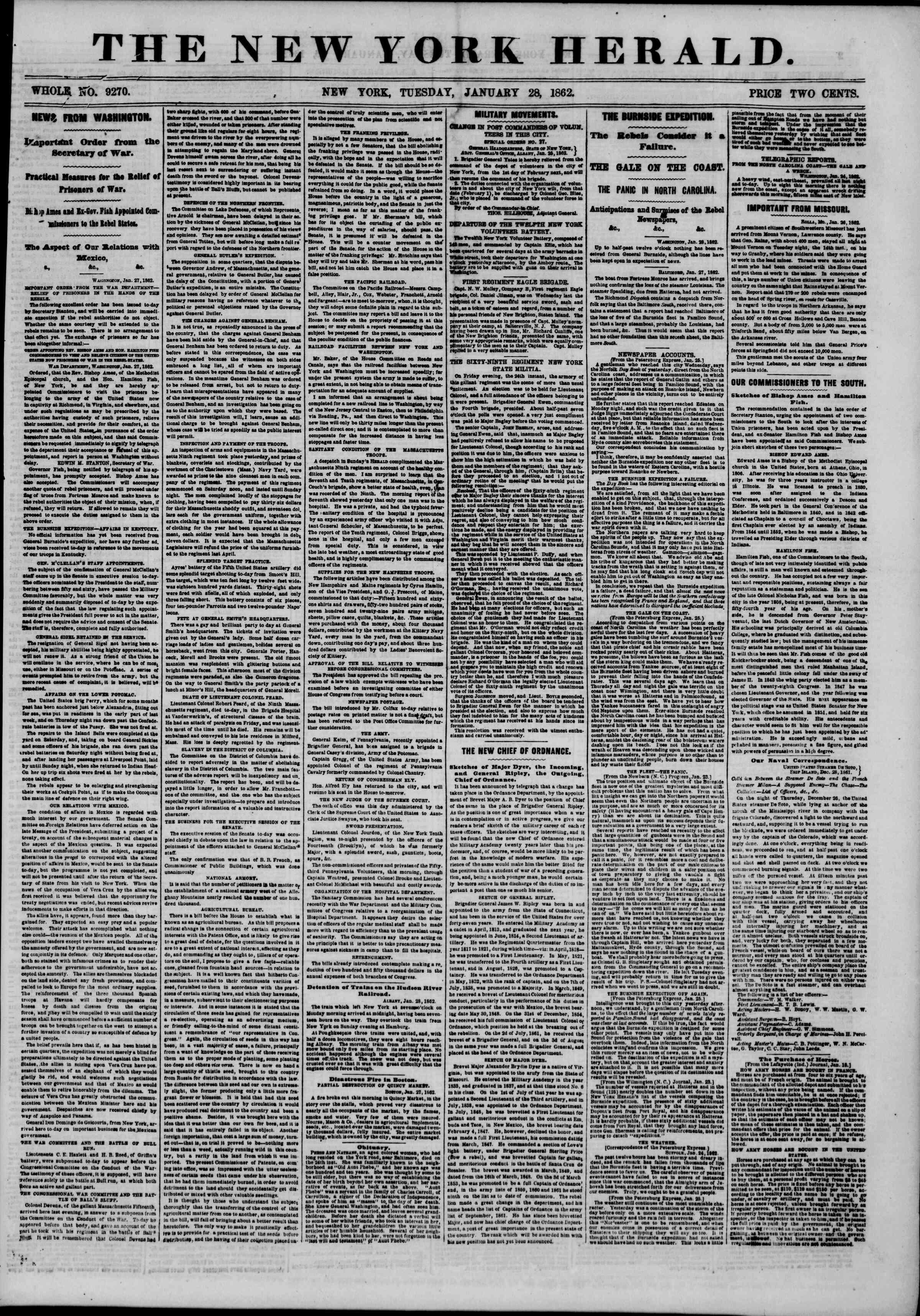 28 Ocak 1862 tarihli The New York Herald Gazetesi Sayfa 1
