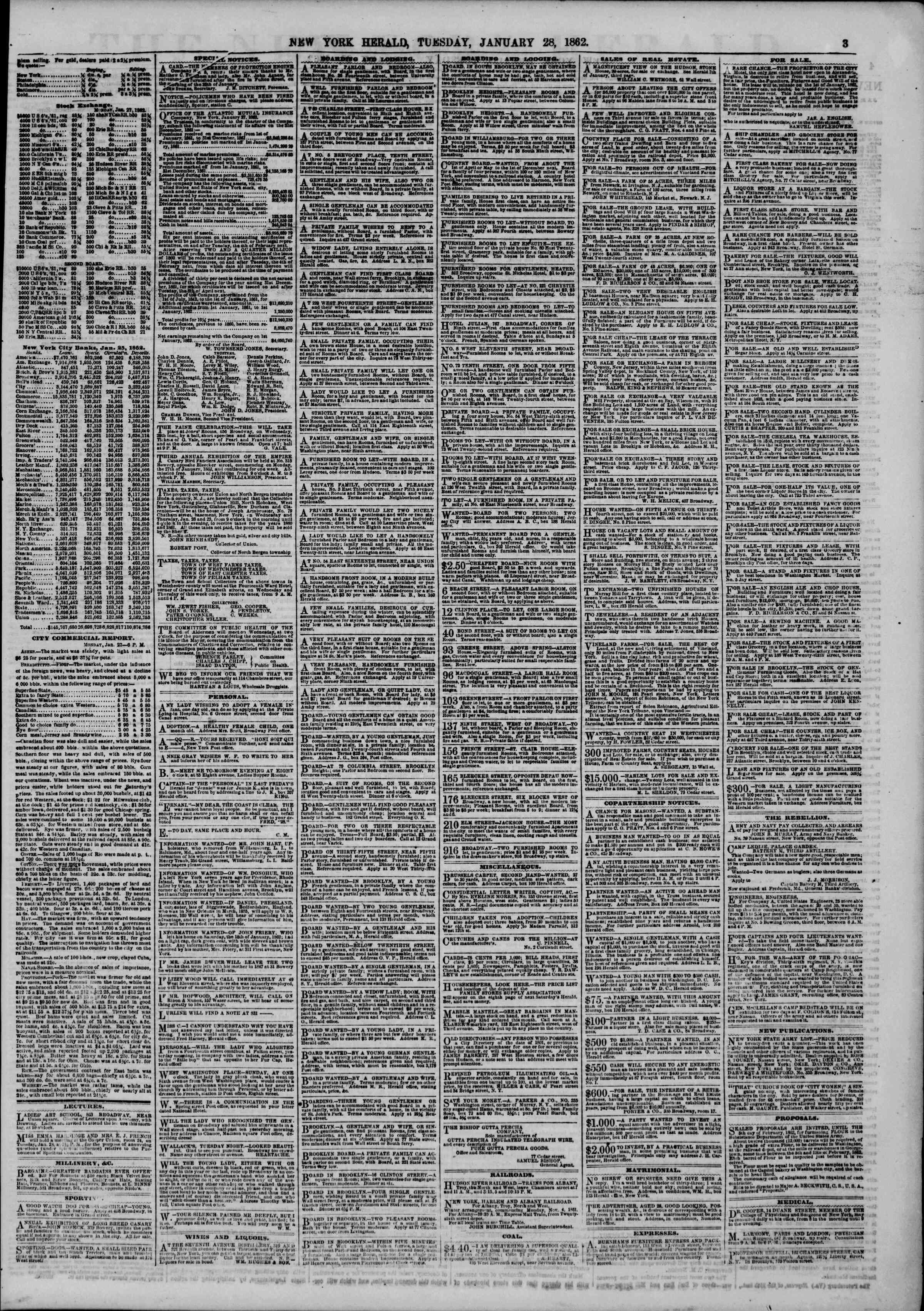 Newspaper of The New York Herald dated January 28, 1862 Page 3