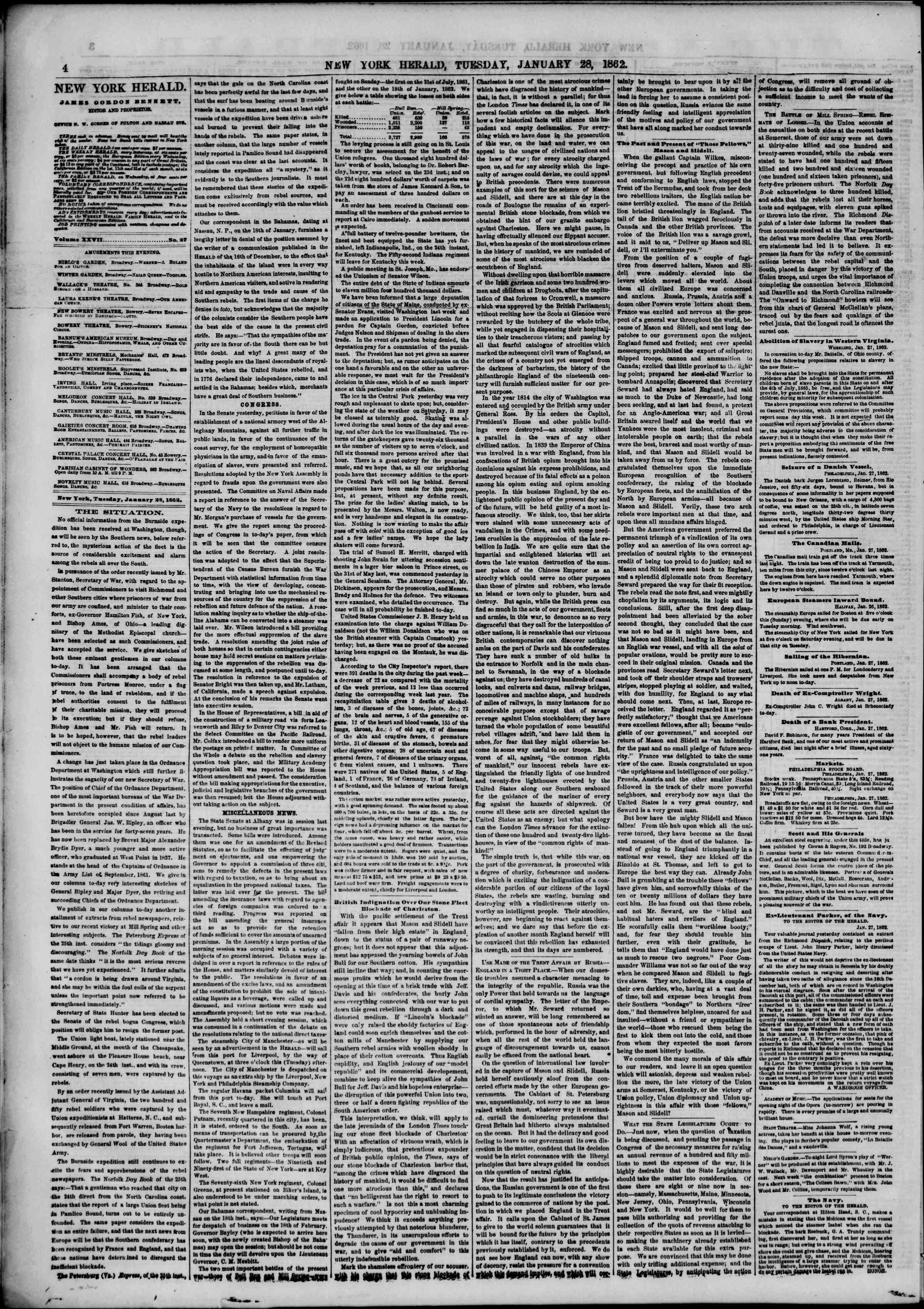 28 Ocak 1862 tarihli The New York Herald Gazetesi Sayfa 4