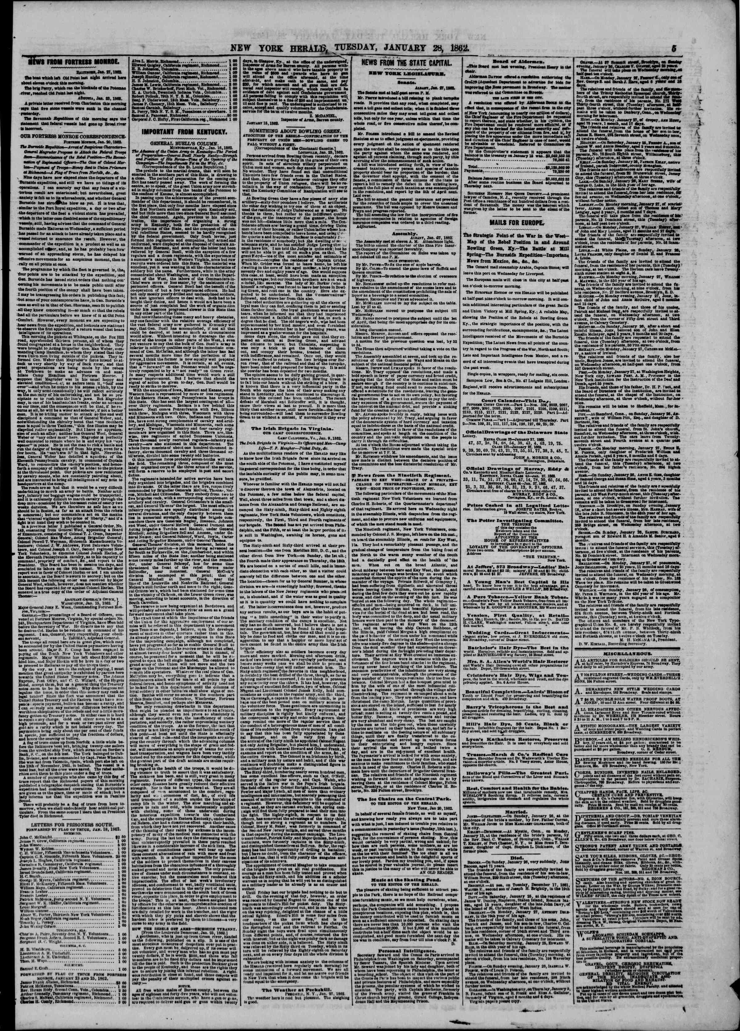 Newspaper of The New York Herald dated January 28, 1862 Page 5