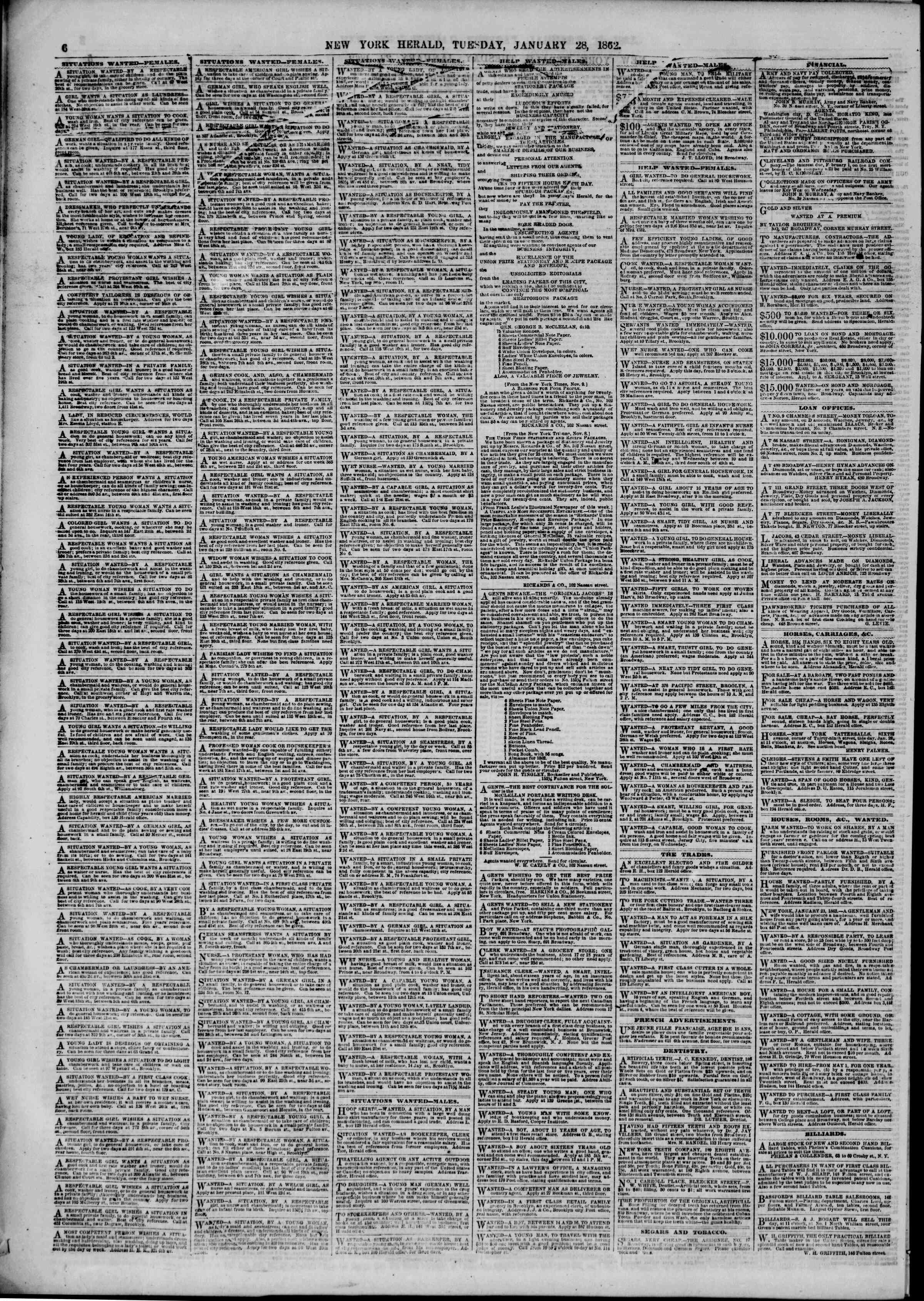 Newspaper of The New York Herald dated January 28, 1862 Page 6