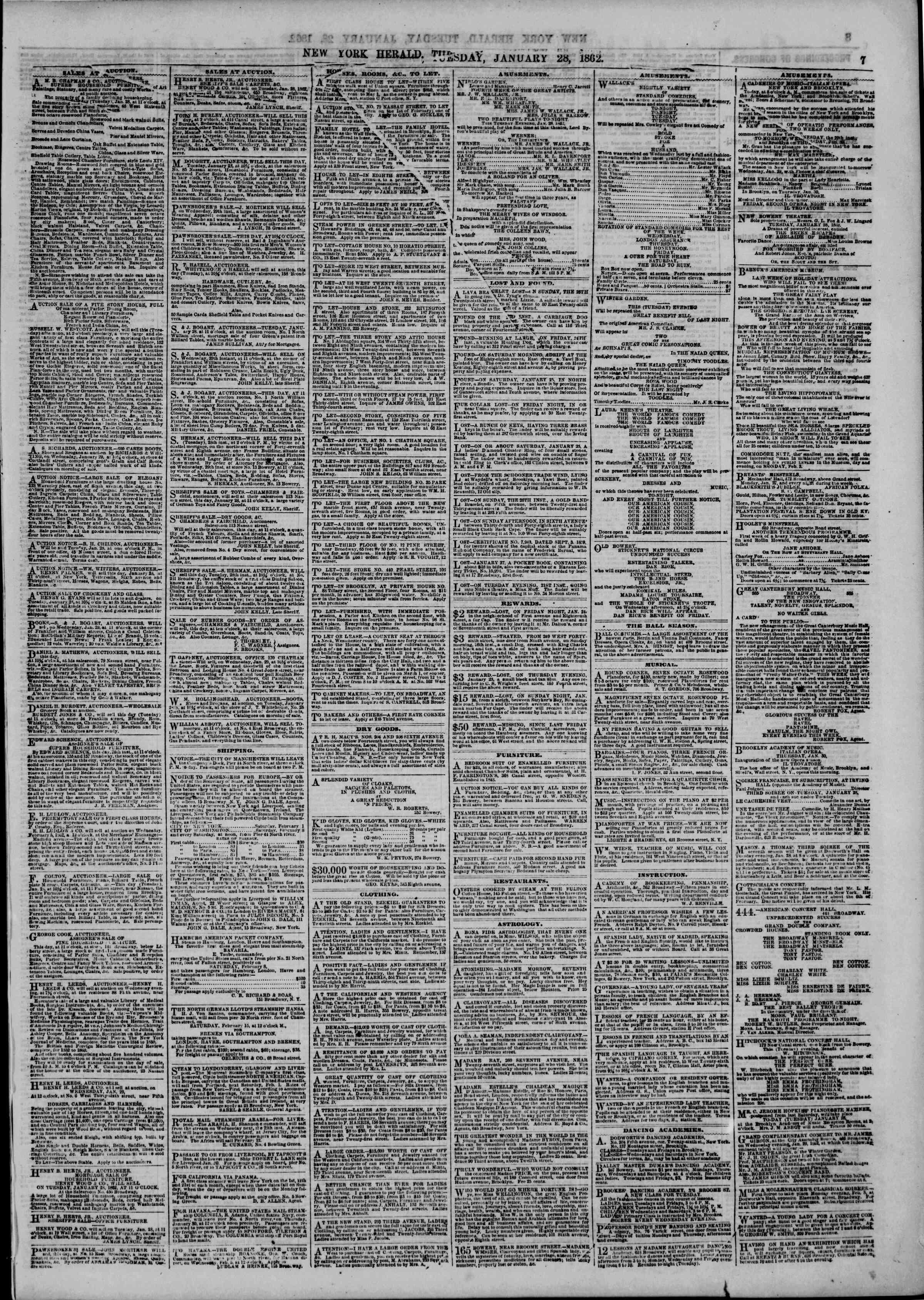 28 Ocak 1862 tarihli The New York Herald Gazetesi Sayfa 7