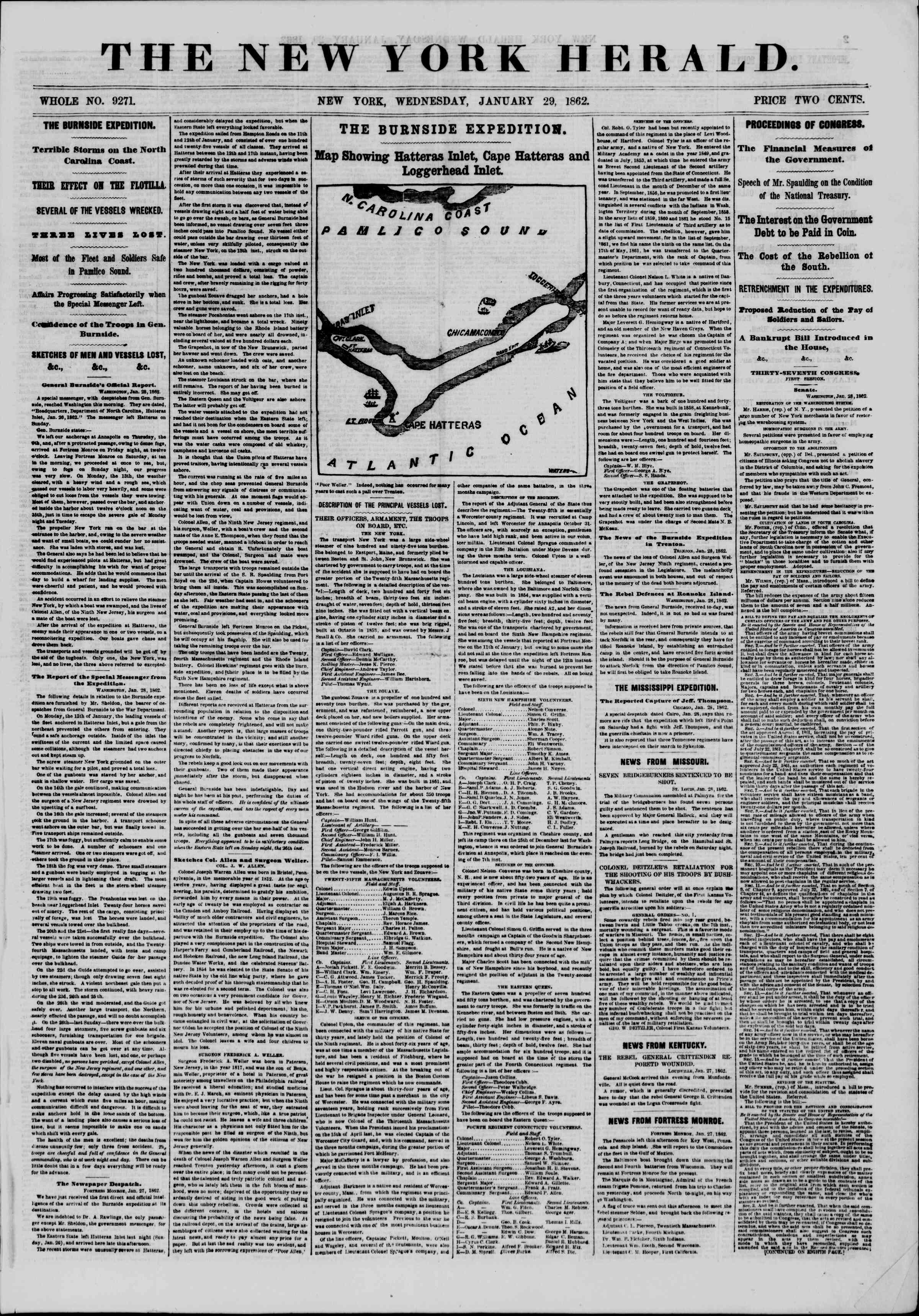 Newspaper of The New York Herald dated January 29, 1862 Page 1