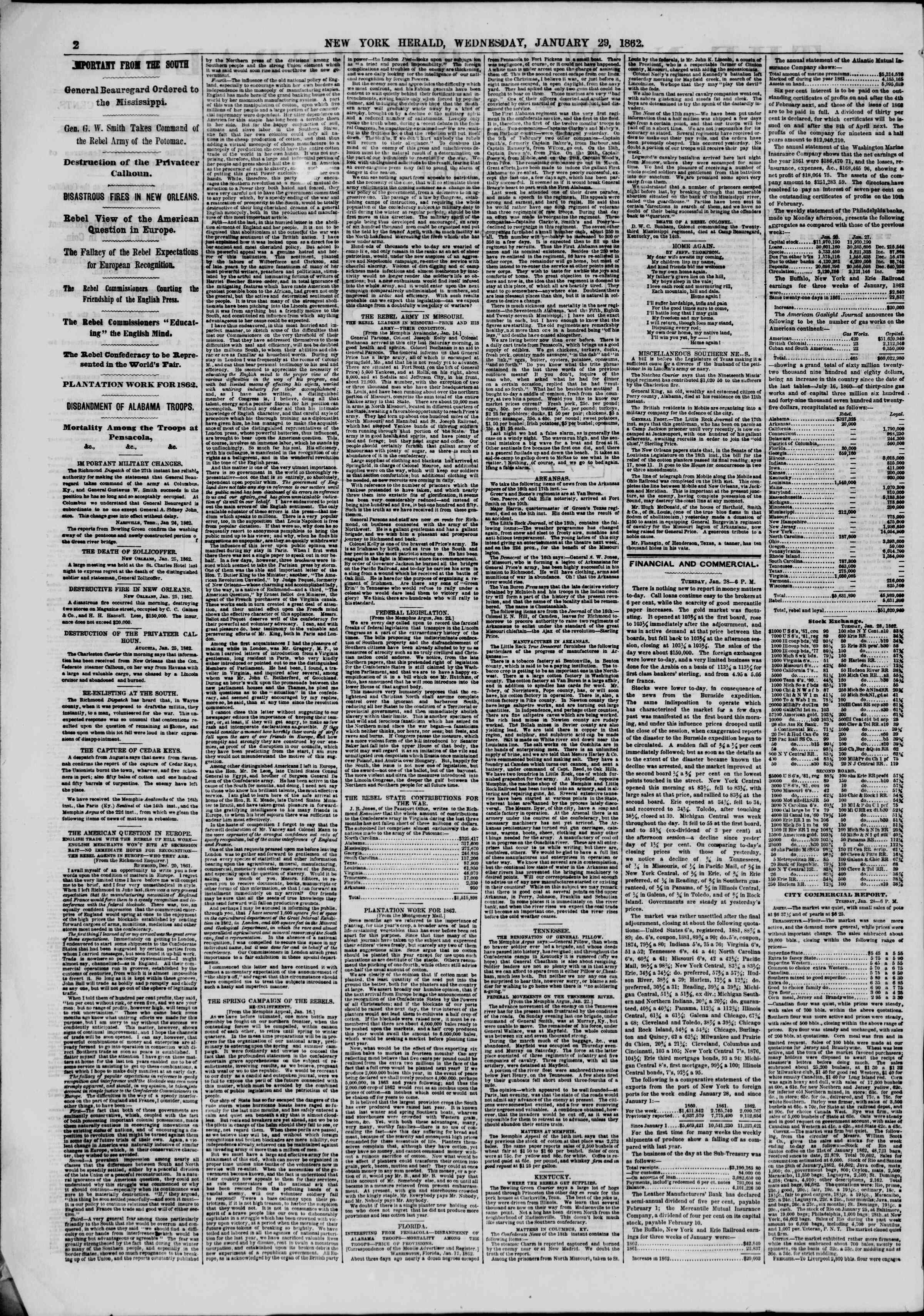 Newspaper of The New York Herald dated January 29, 1862 Page 2