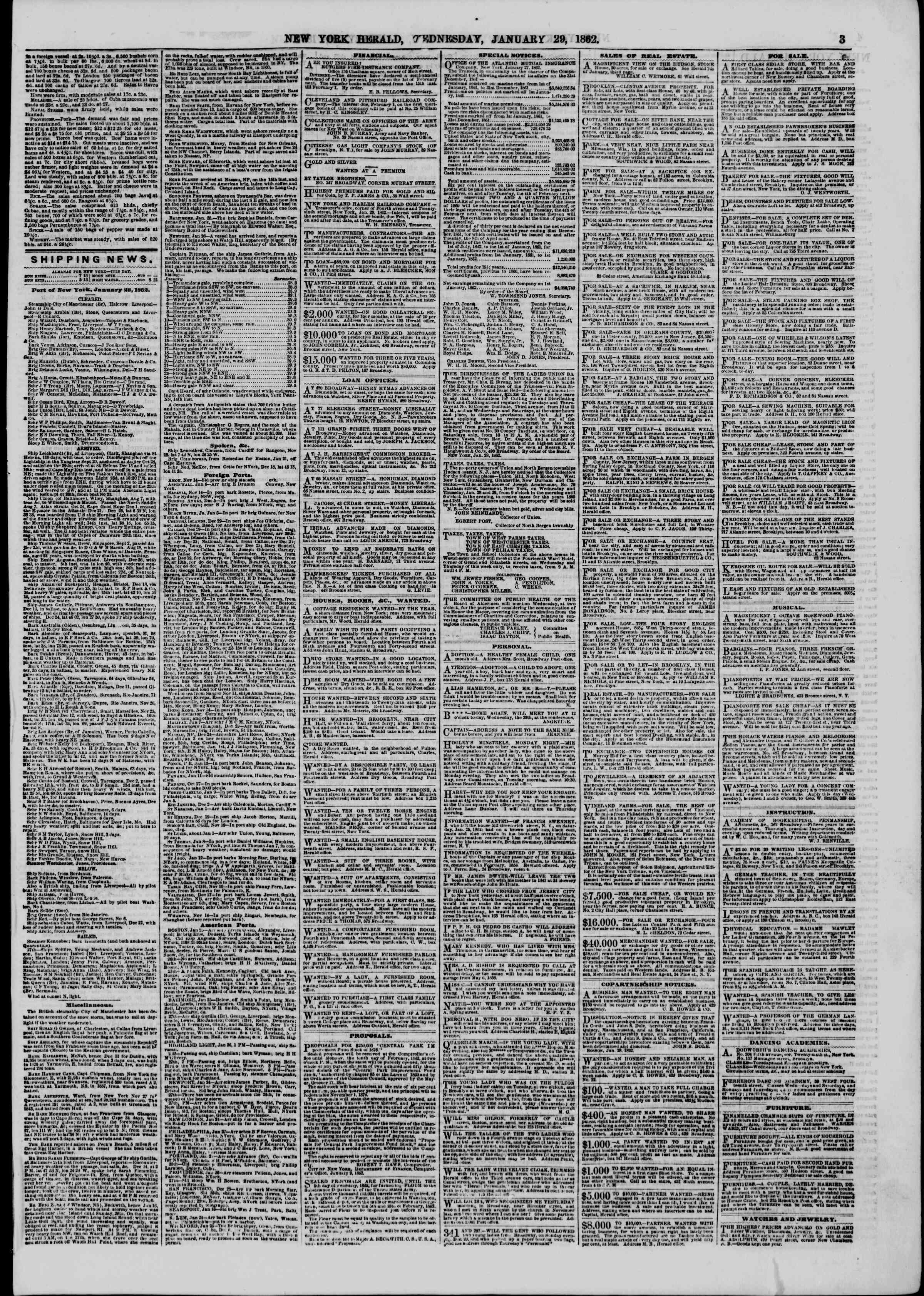 Newspaper of The New York Herald dated January 29, 1862 Page 3