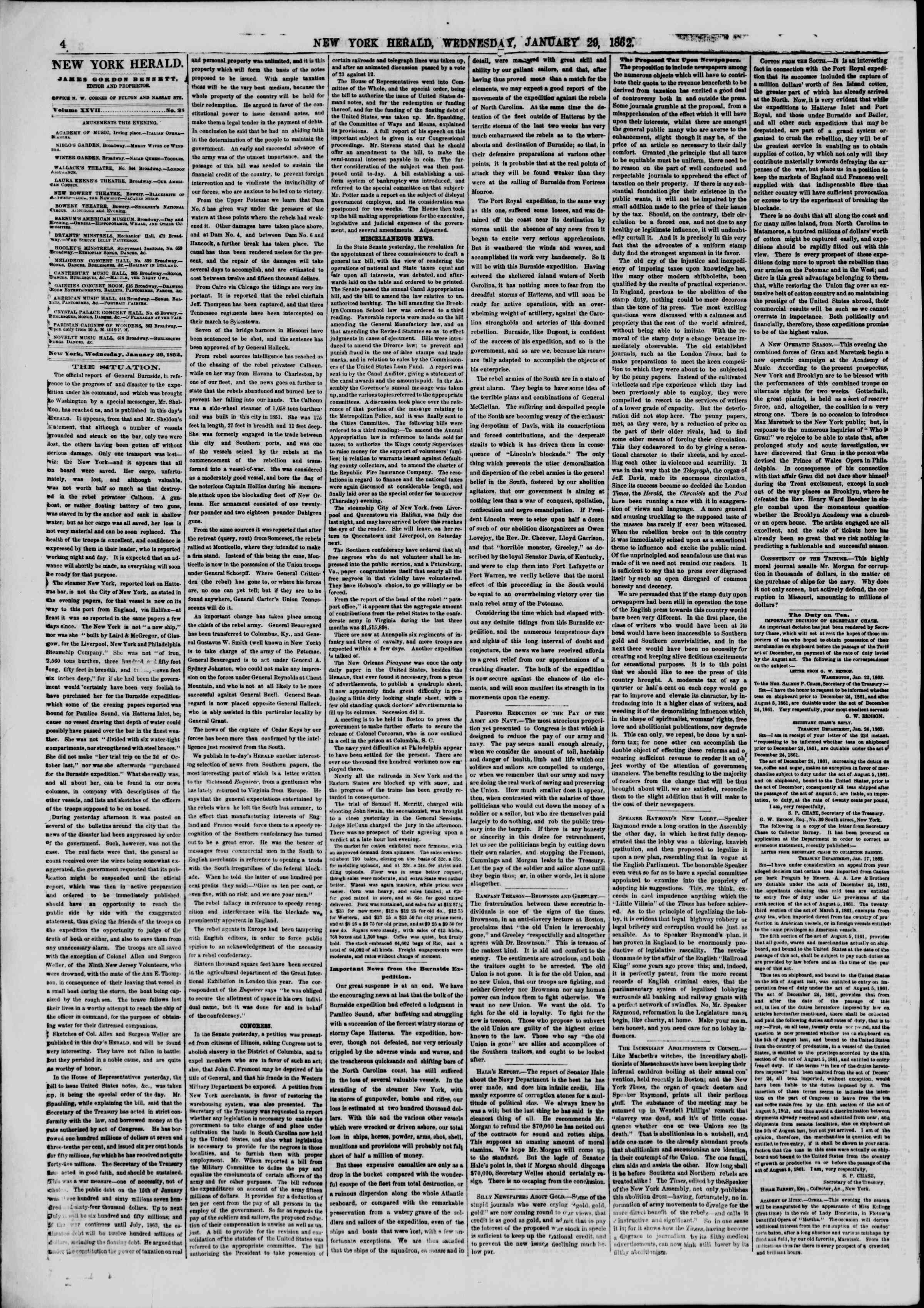 Newspaper of The New York Herald dated January 29, 1862 Page 4