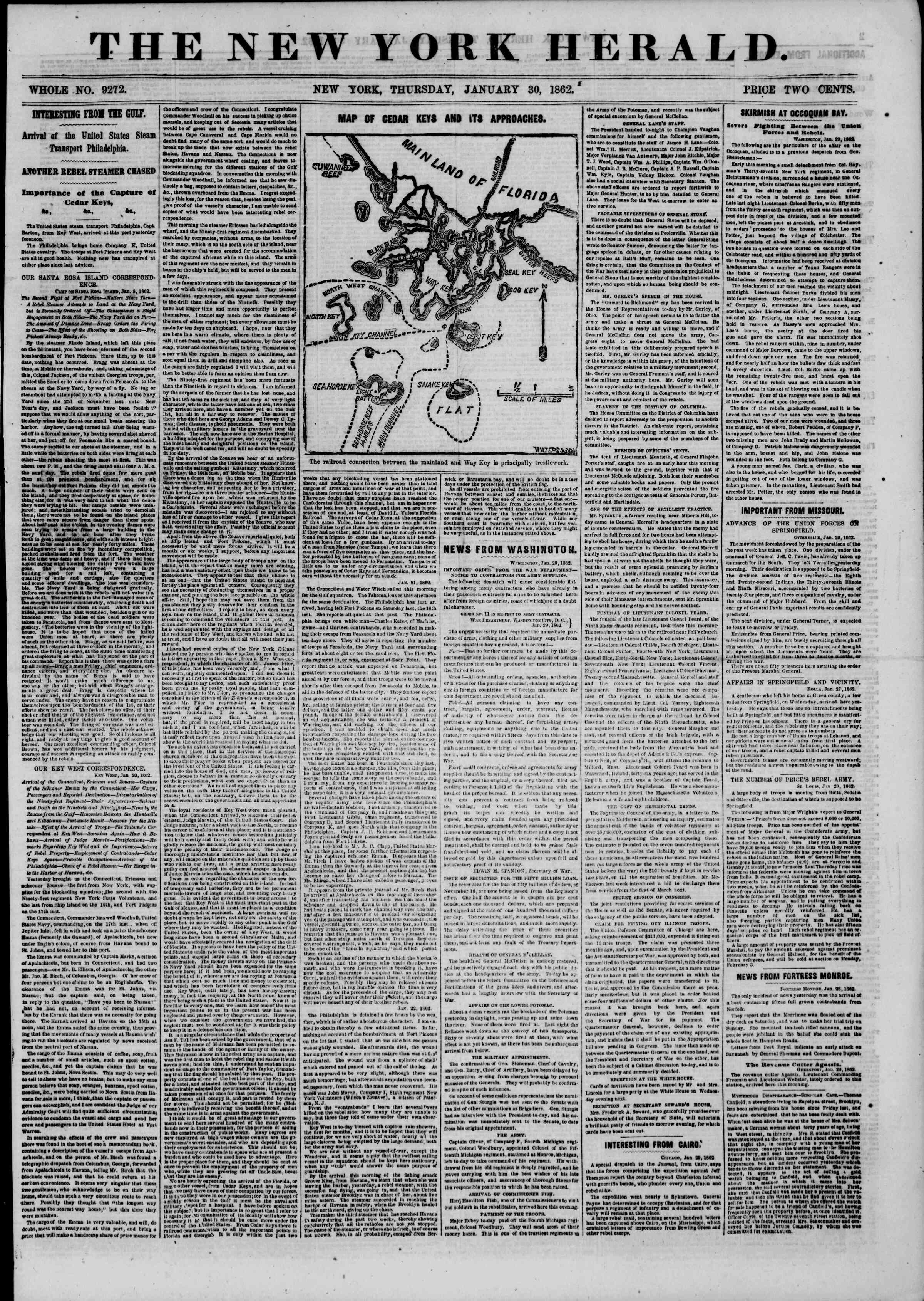 Newspaper of The New York Herald dated January 30, 1862 Page 1