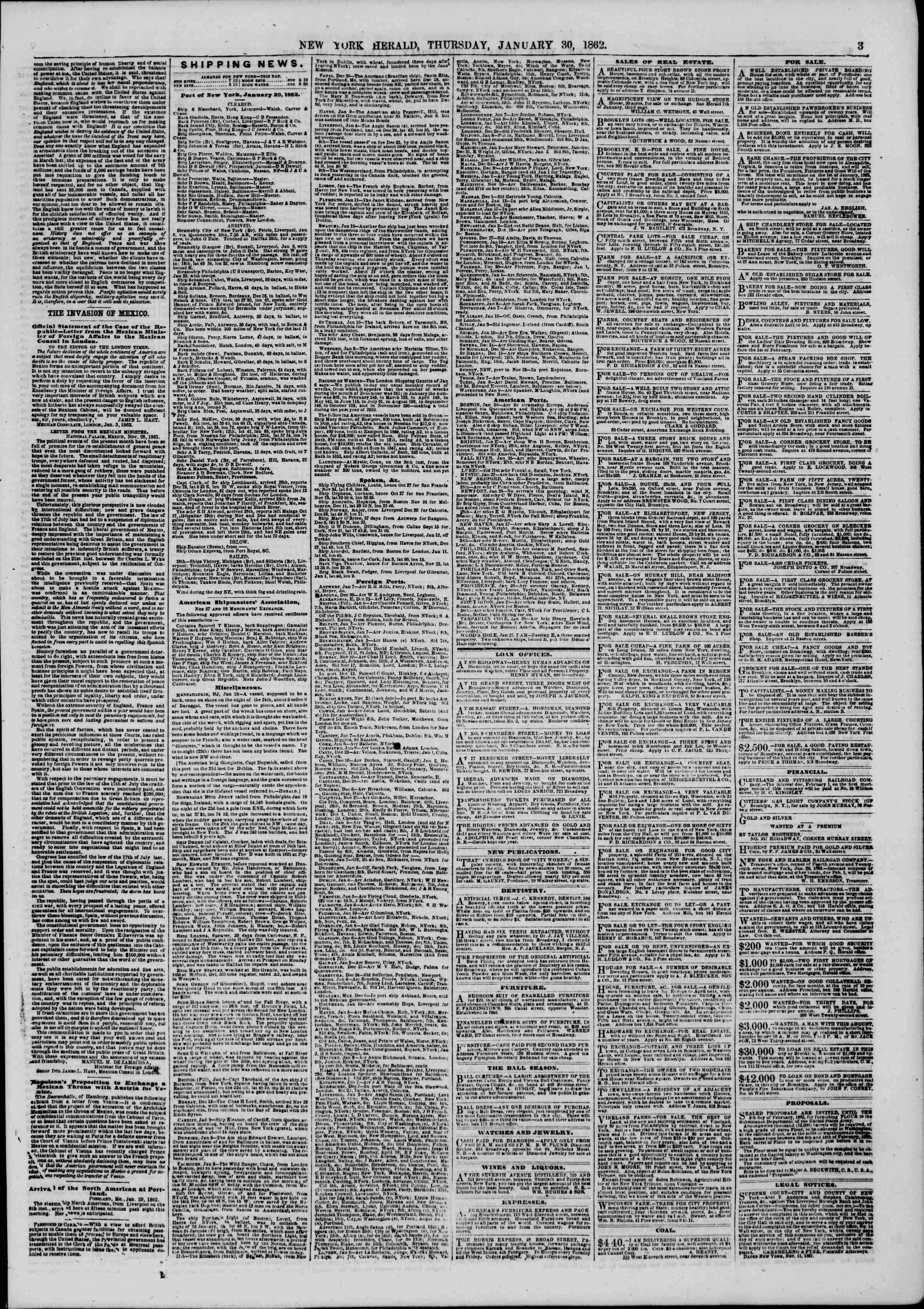 Newspaper of The New York Herald dated January 30, 1862 Page 3