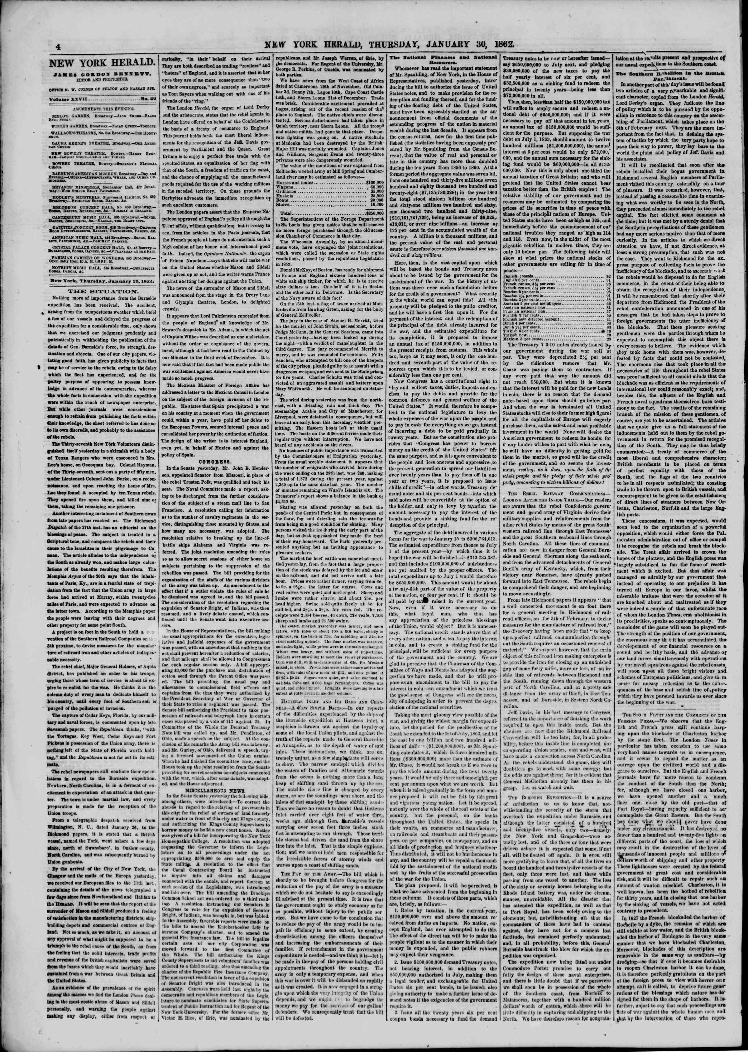 Newspaper of The New York Herald dated January 30, 1862 Page 4