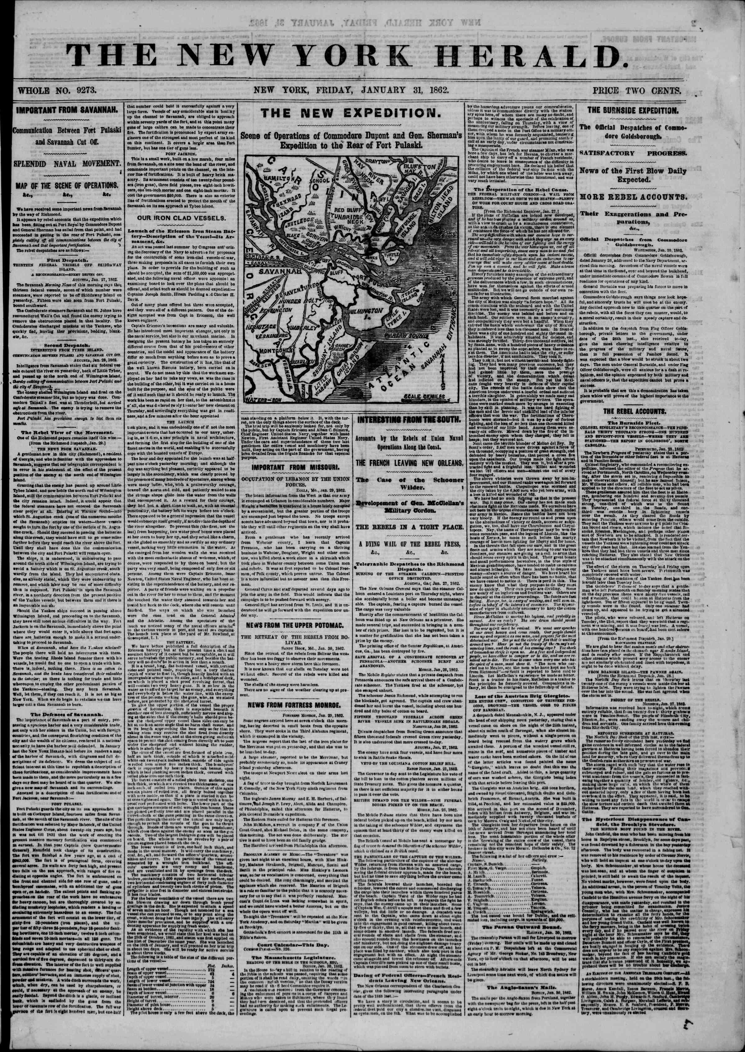 31 Ocak 1862 tarihli The New York Herald Gazetesi Sayfa 1