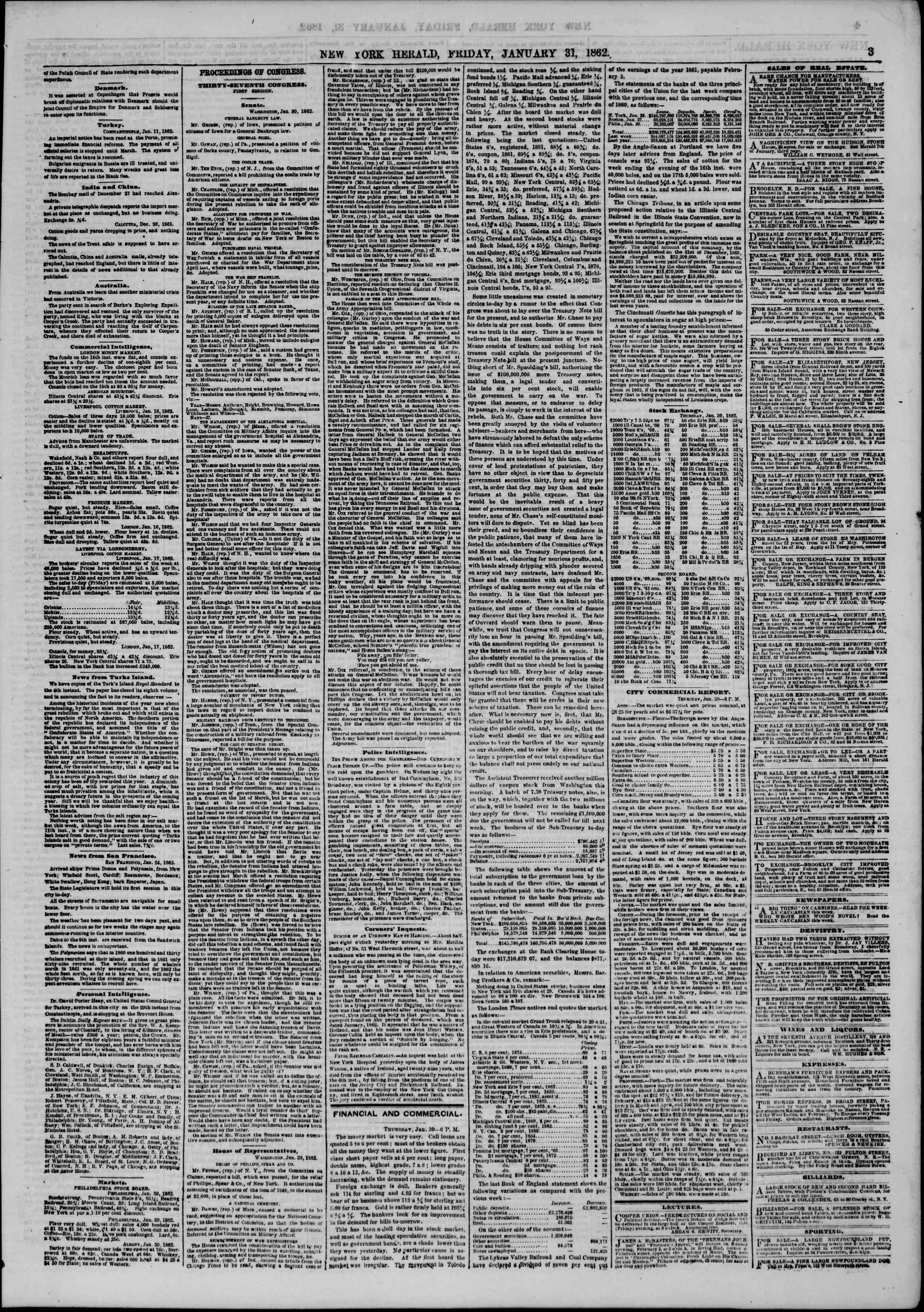 Newspaper of The New York Herald dated January 31, 1862 Page 3