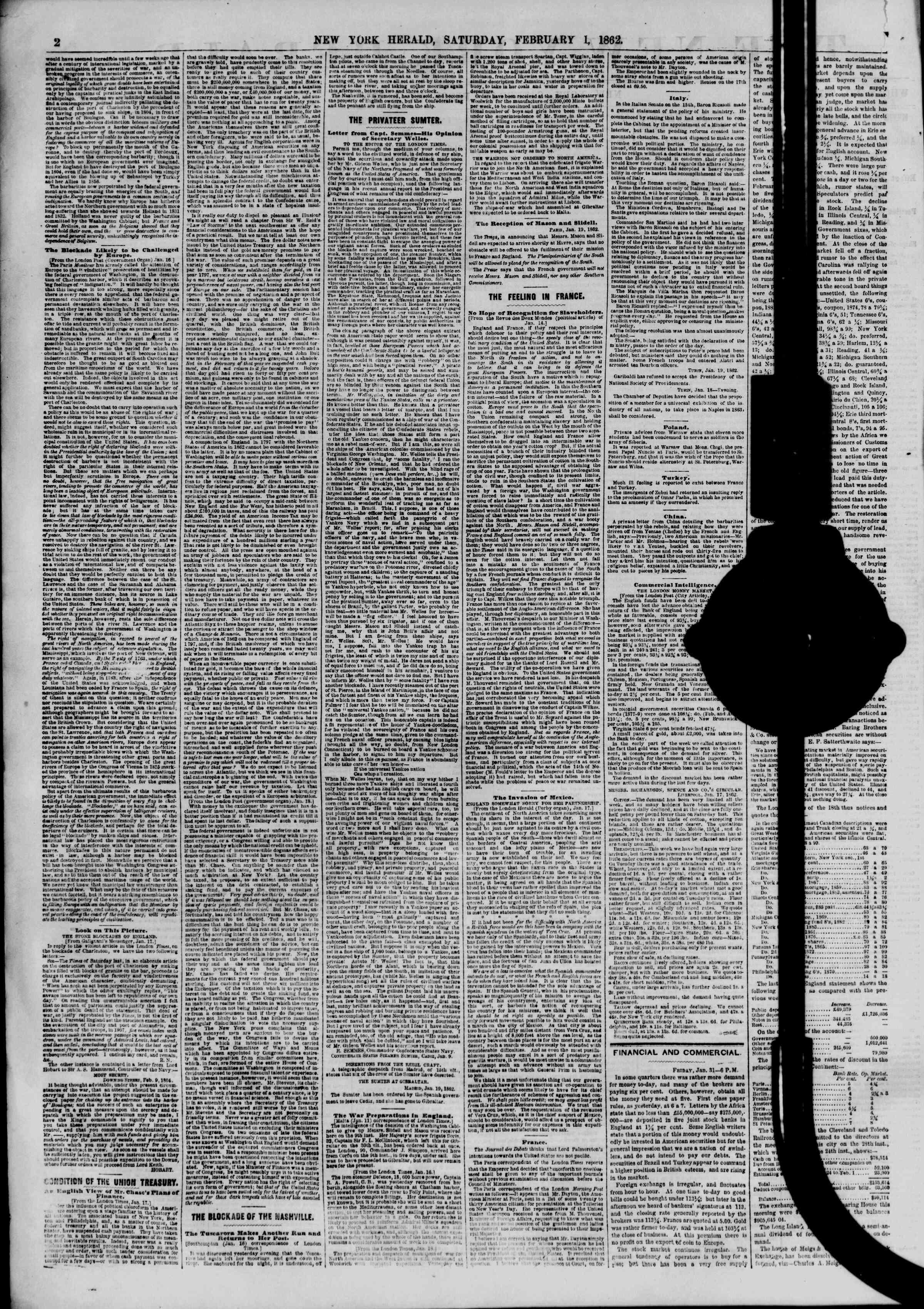 Newspaper of The New York Herald dated February 1, 1862 Page 2