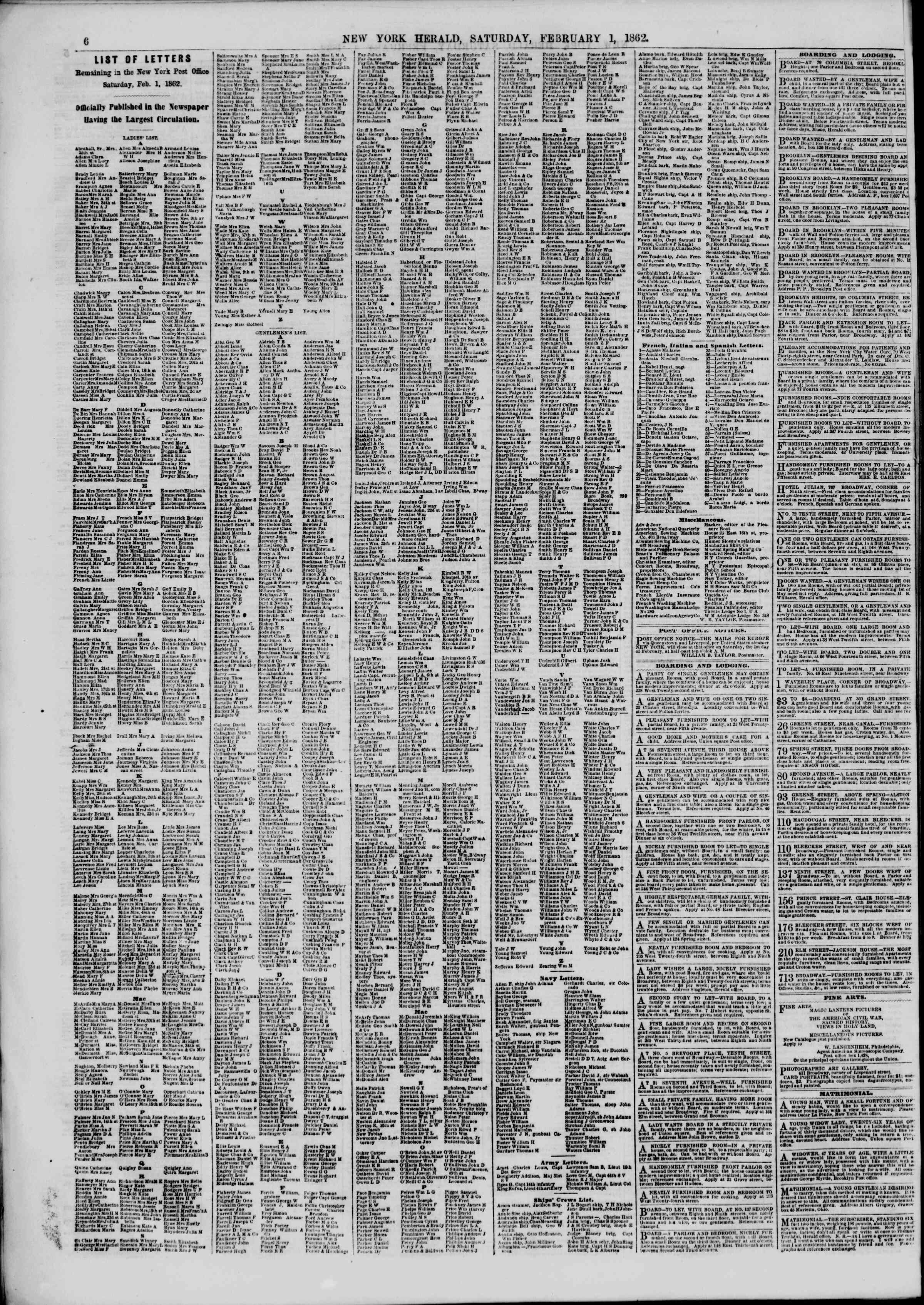 Newspaper of The New York Herald dated February 1, 1862 Page 8