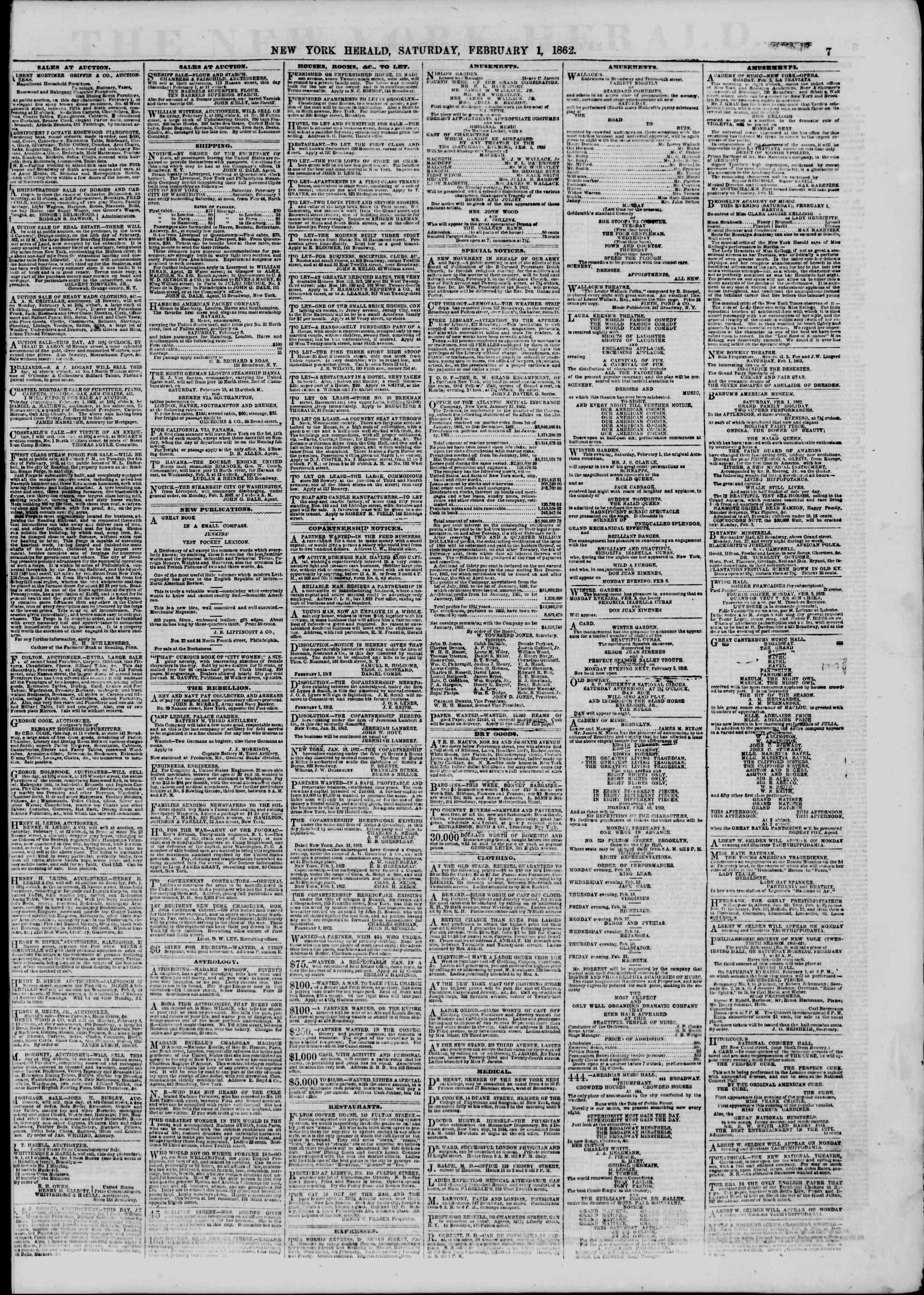 Newspaper of The New York Herald dated February 1, 1862 Page 9