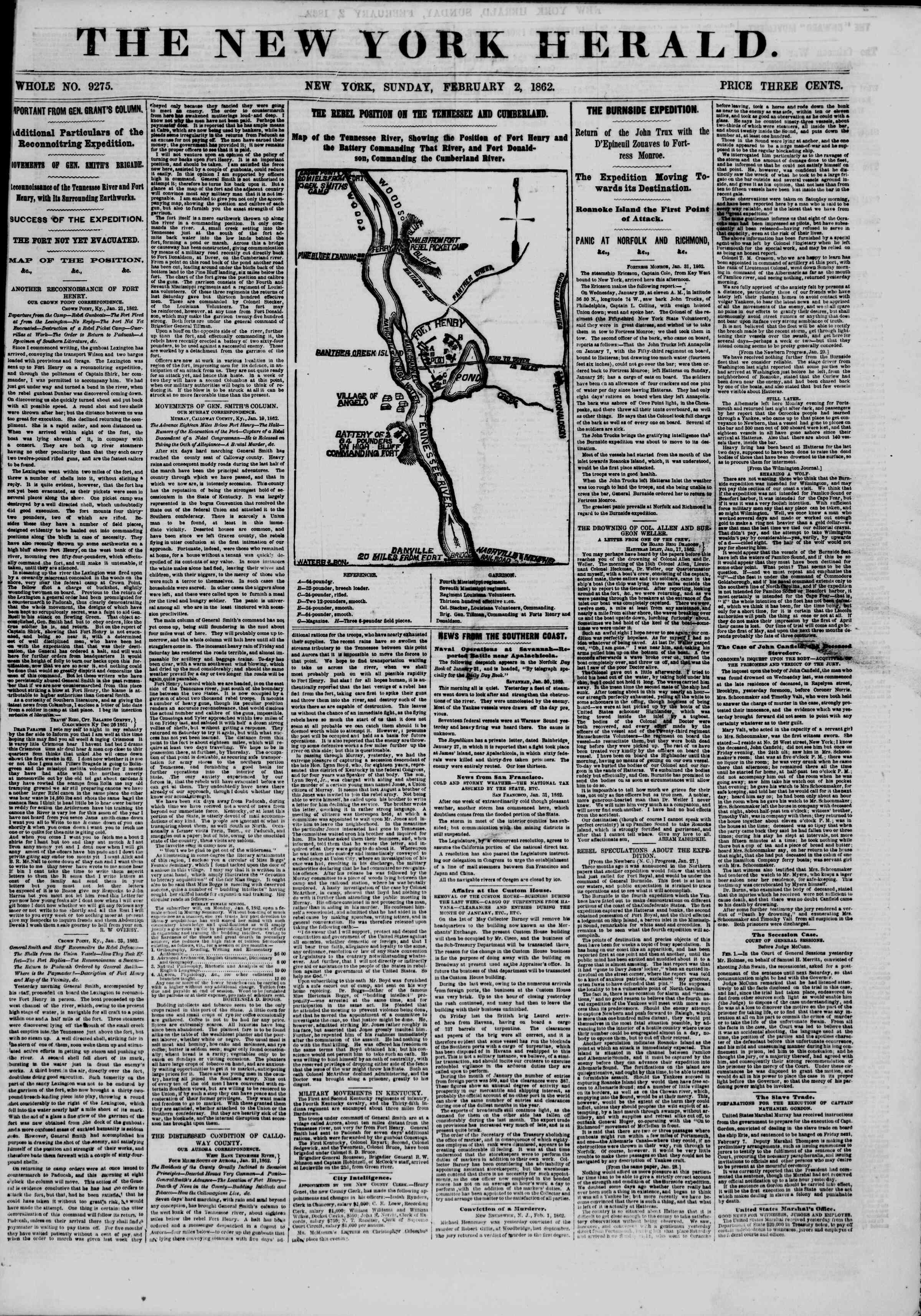 Newspaper of The New York Herald dated February 2, 1862 Page 1