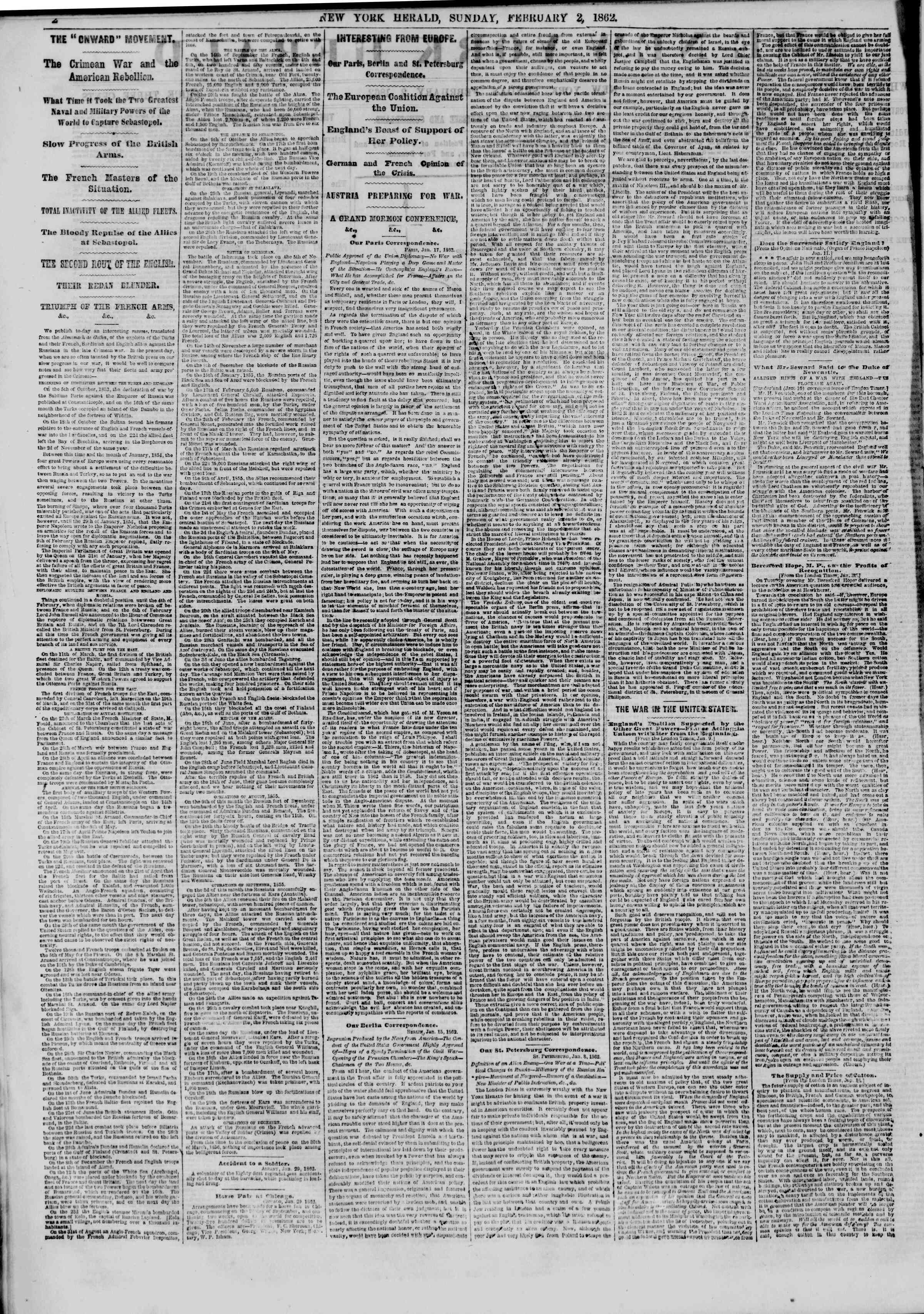 Newspaper of The New York Herald dated February 2, 1862 Page 2