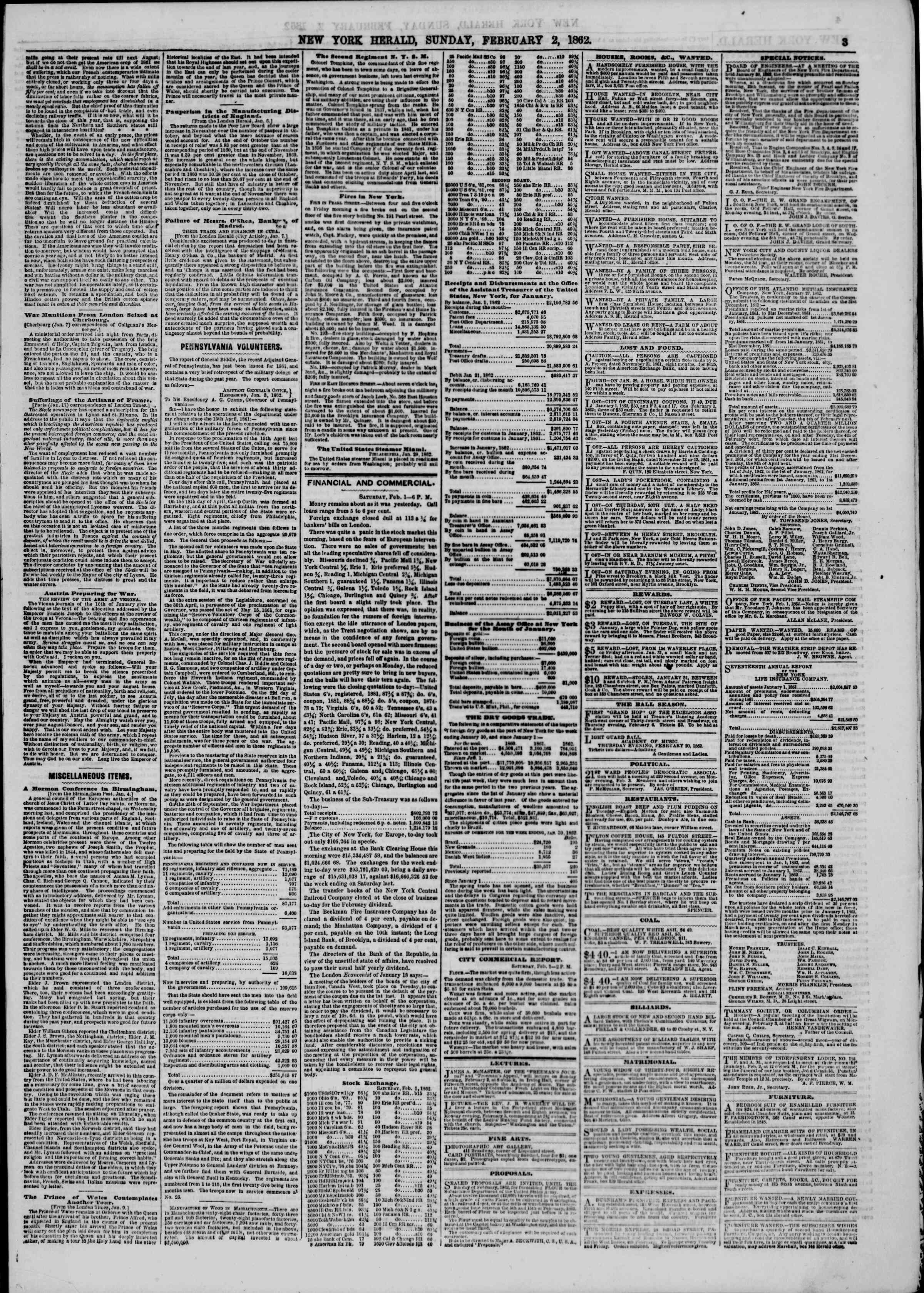 Newspaper of The New York Herald dated February 2, 1862 Page 3