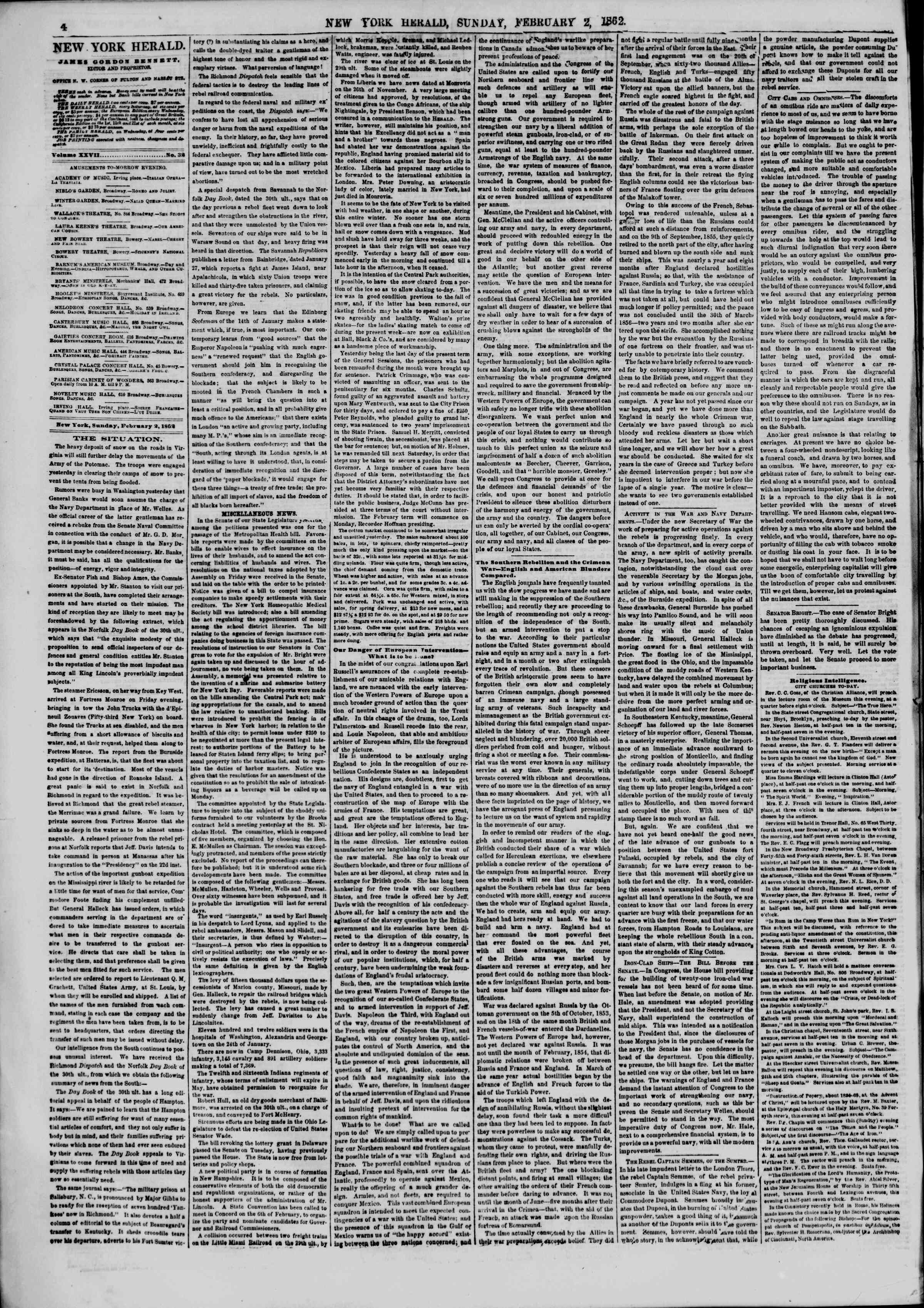 Newspaper of The New York Herald dated February 2, 1862 Page 4