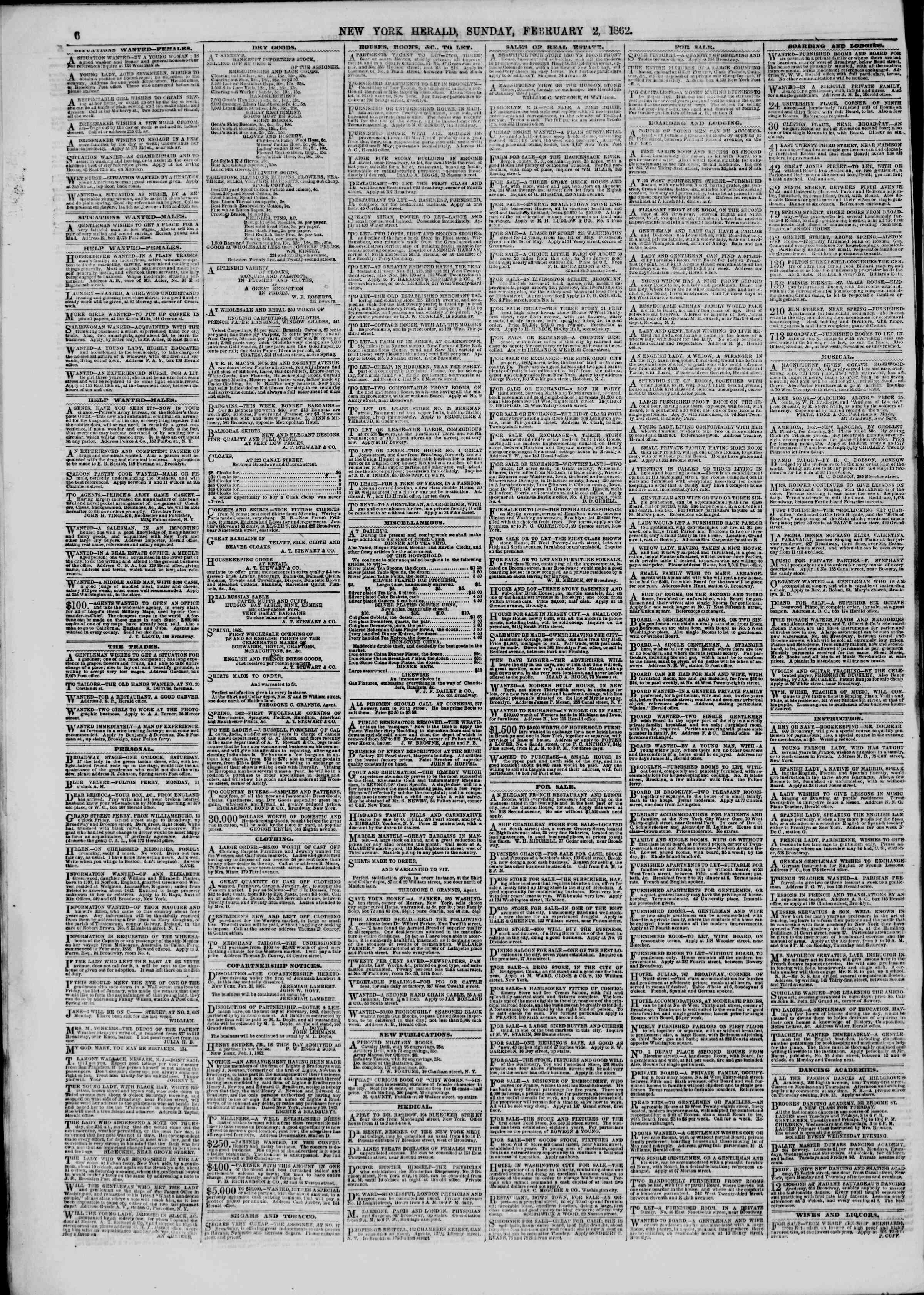 Newspaper of The New York Herald dated February 2, 1862 Page 6