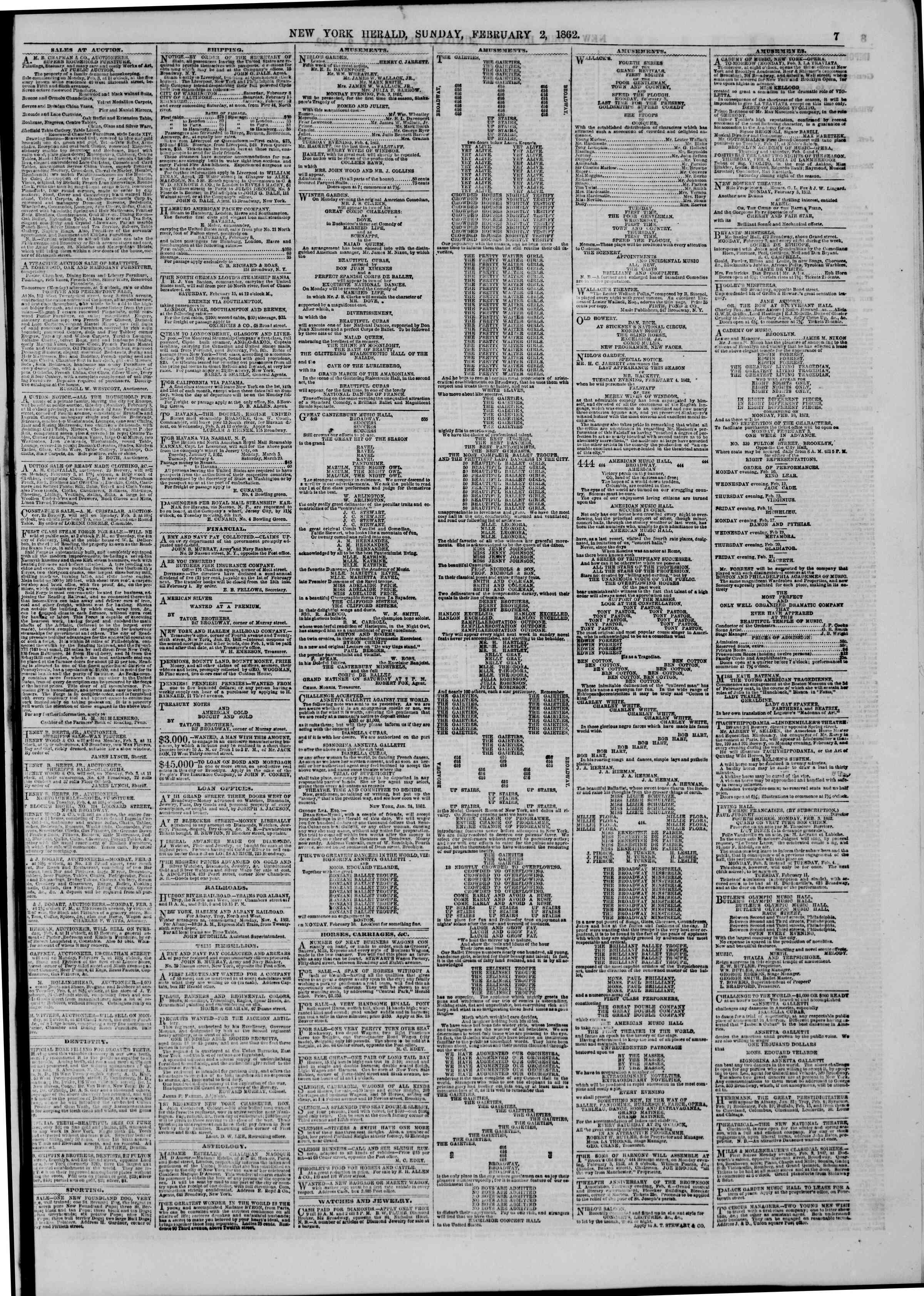 Newspaper of The New York Herald dated February 2, 1862 Page 7