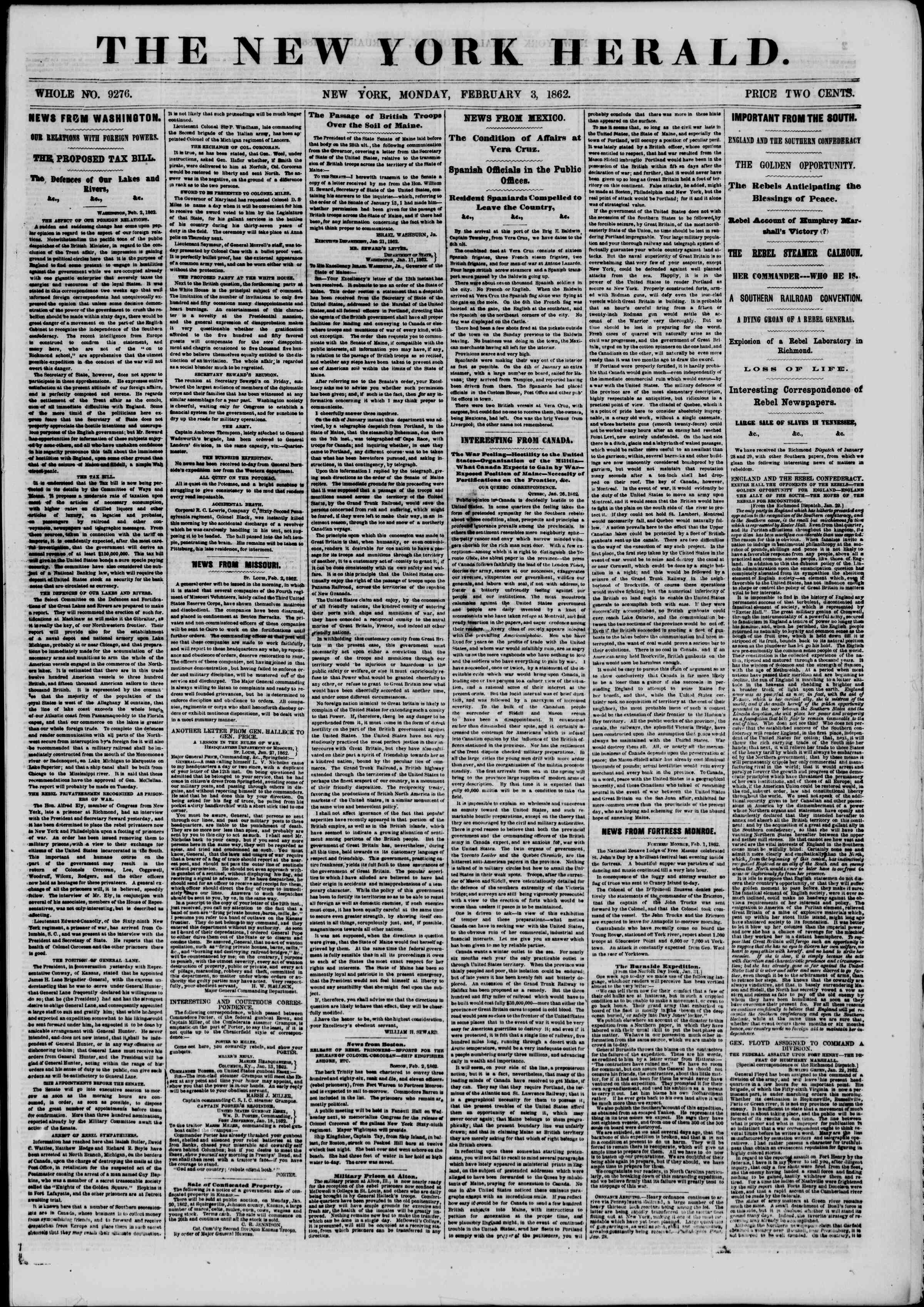 Newspaper of The New York Herald dated February 3, 1862 Page 1