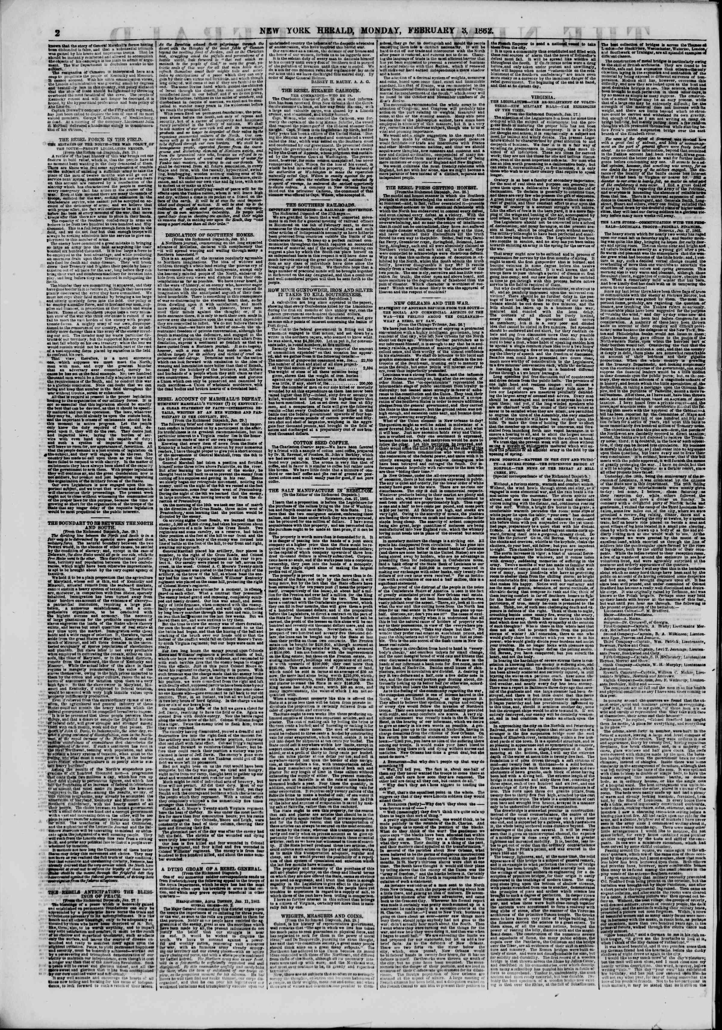 Newspaper of The New York Herald dated February 3, 1862 Page 2