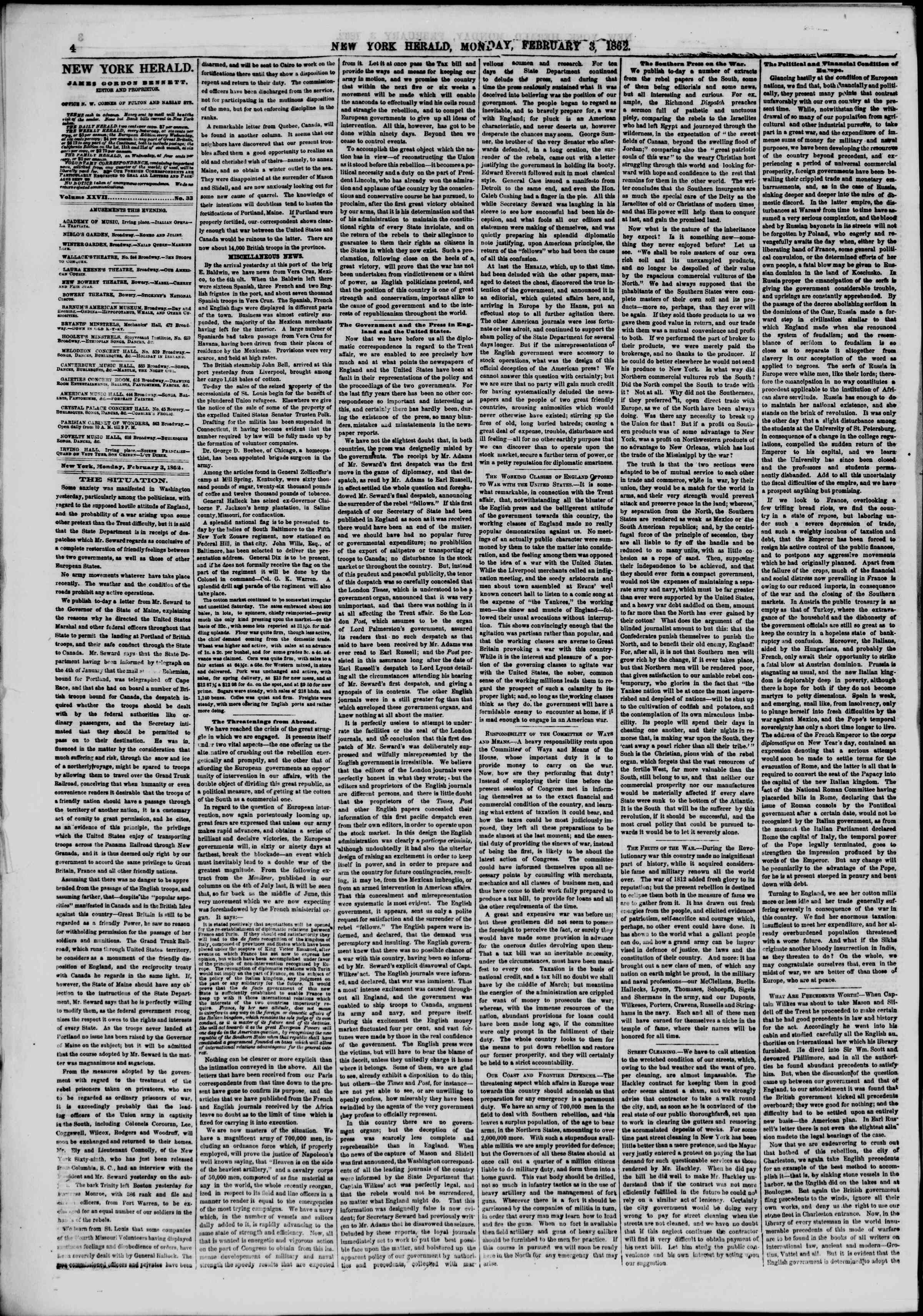 Newspaper of The New York Herald dated February 3, 1862 Page 4