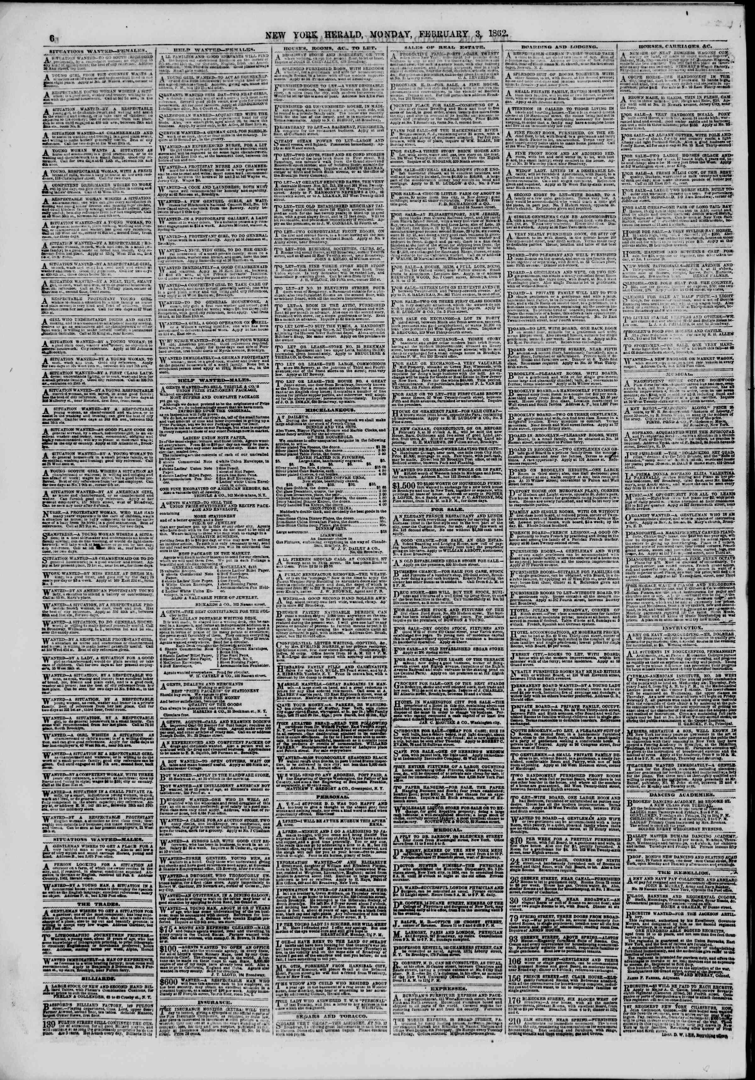 Newspaper of The New York Herald dated February 3, 1862 Page 6