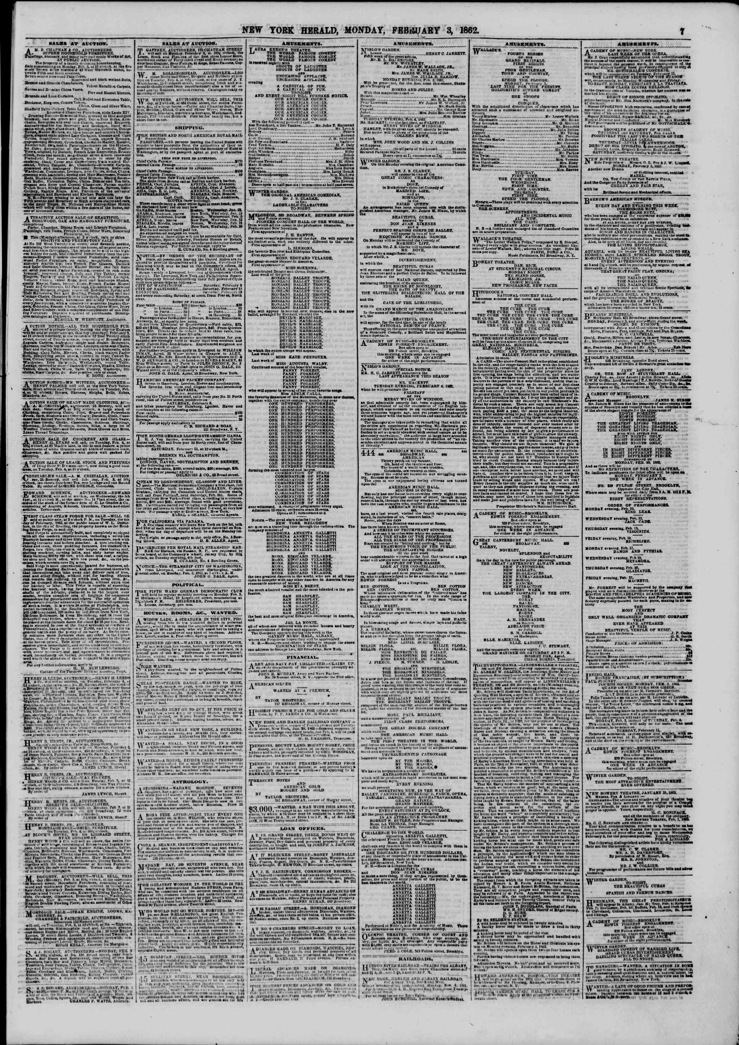 Newspaper of The New York Herald dated February 3, 1862 Page 7