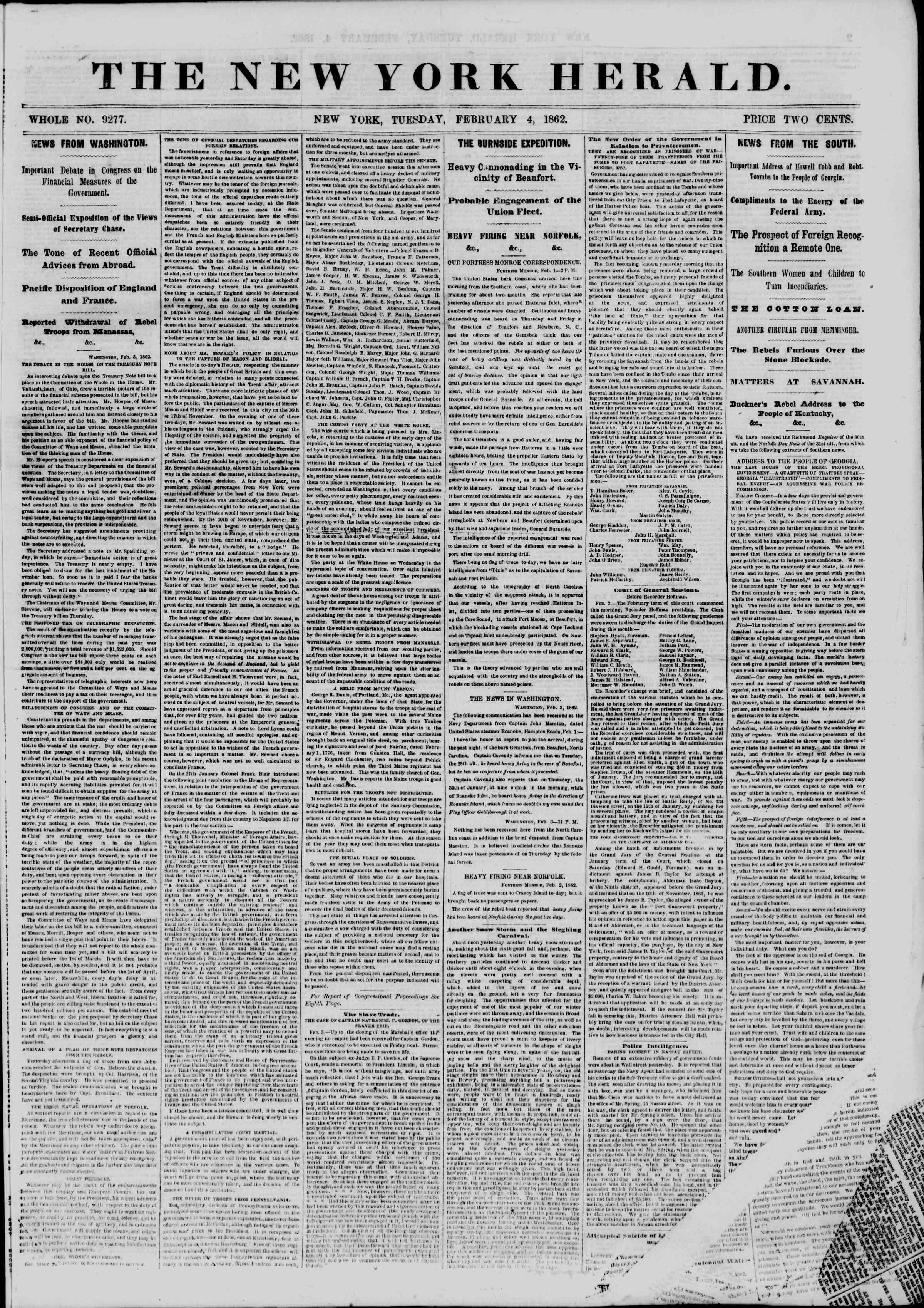 4 Şubat 1862 tarihli The New York Herald Gazetesi Sayfa 1