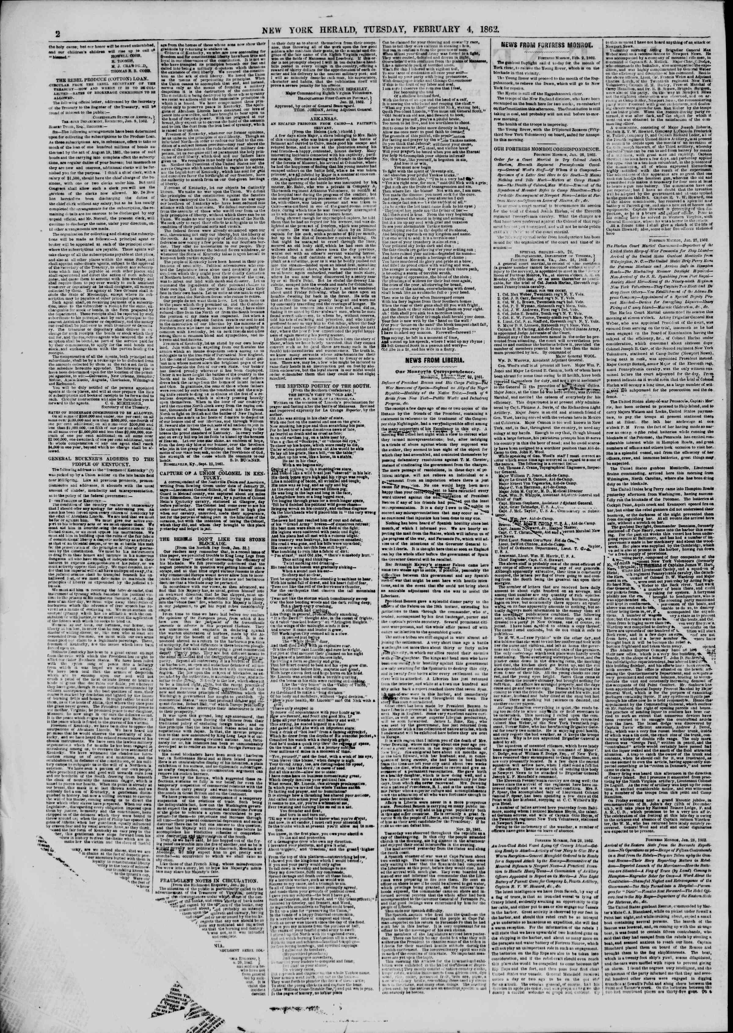 Newspaper of The New York Herald dated February 4, 1862 Page 2