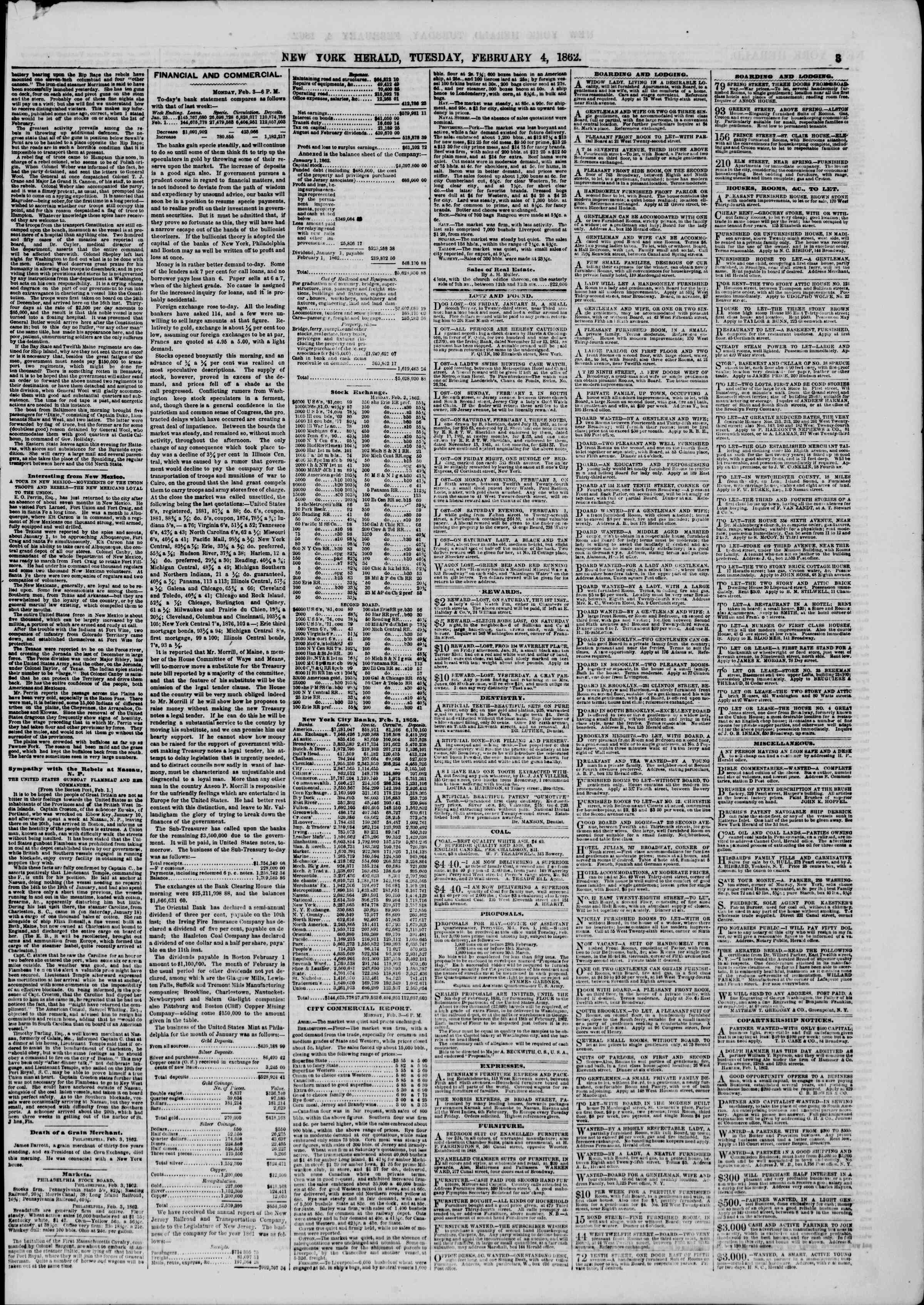 Newspaper of The New York Herald dated February 4, 1862 Page 3