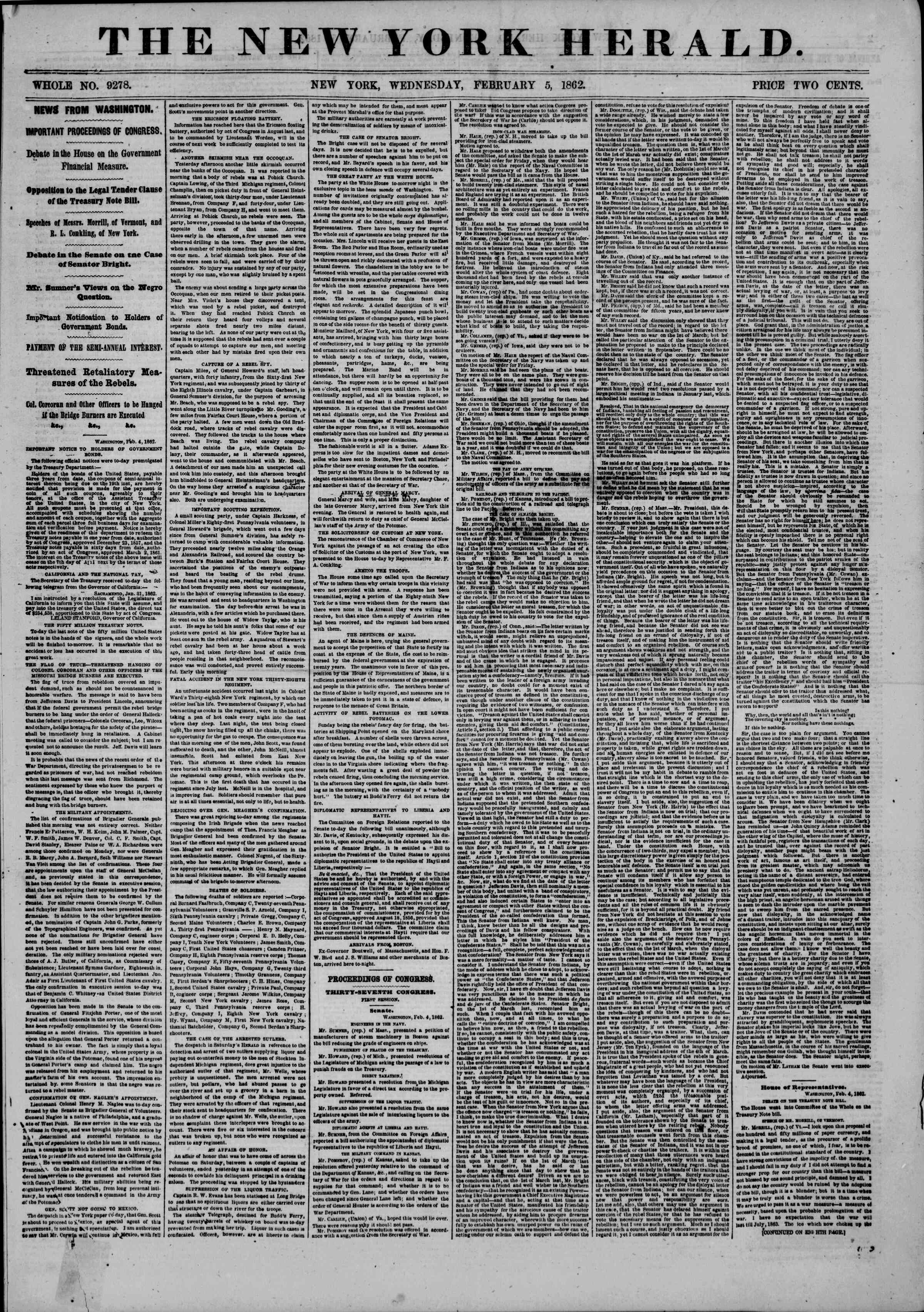 Newspaper of The New York Herald dated February 5, 1862 Page 1
