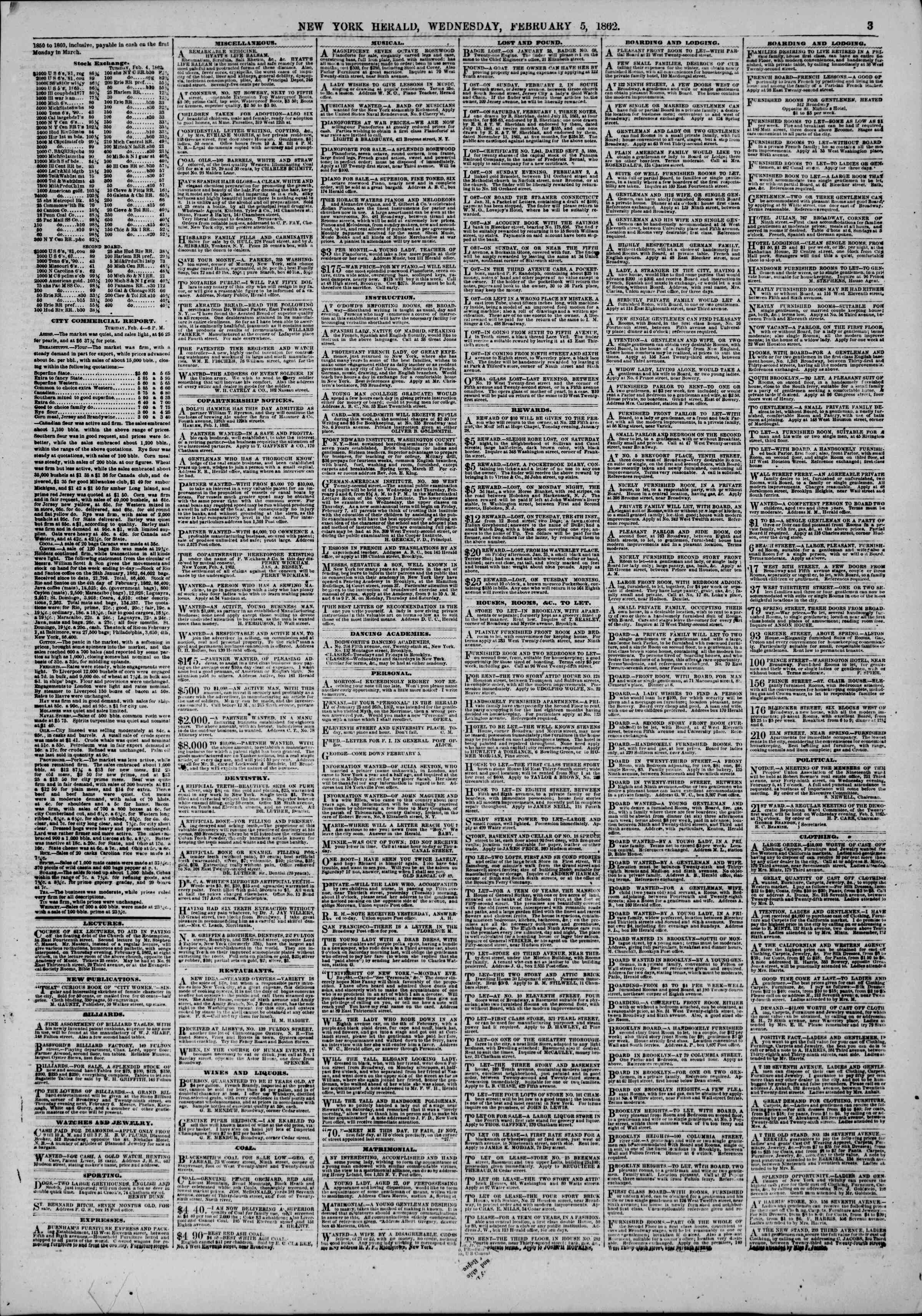 Newspaper of The New York Herald dated February 5, 1862 Page 3