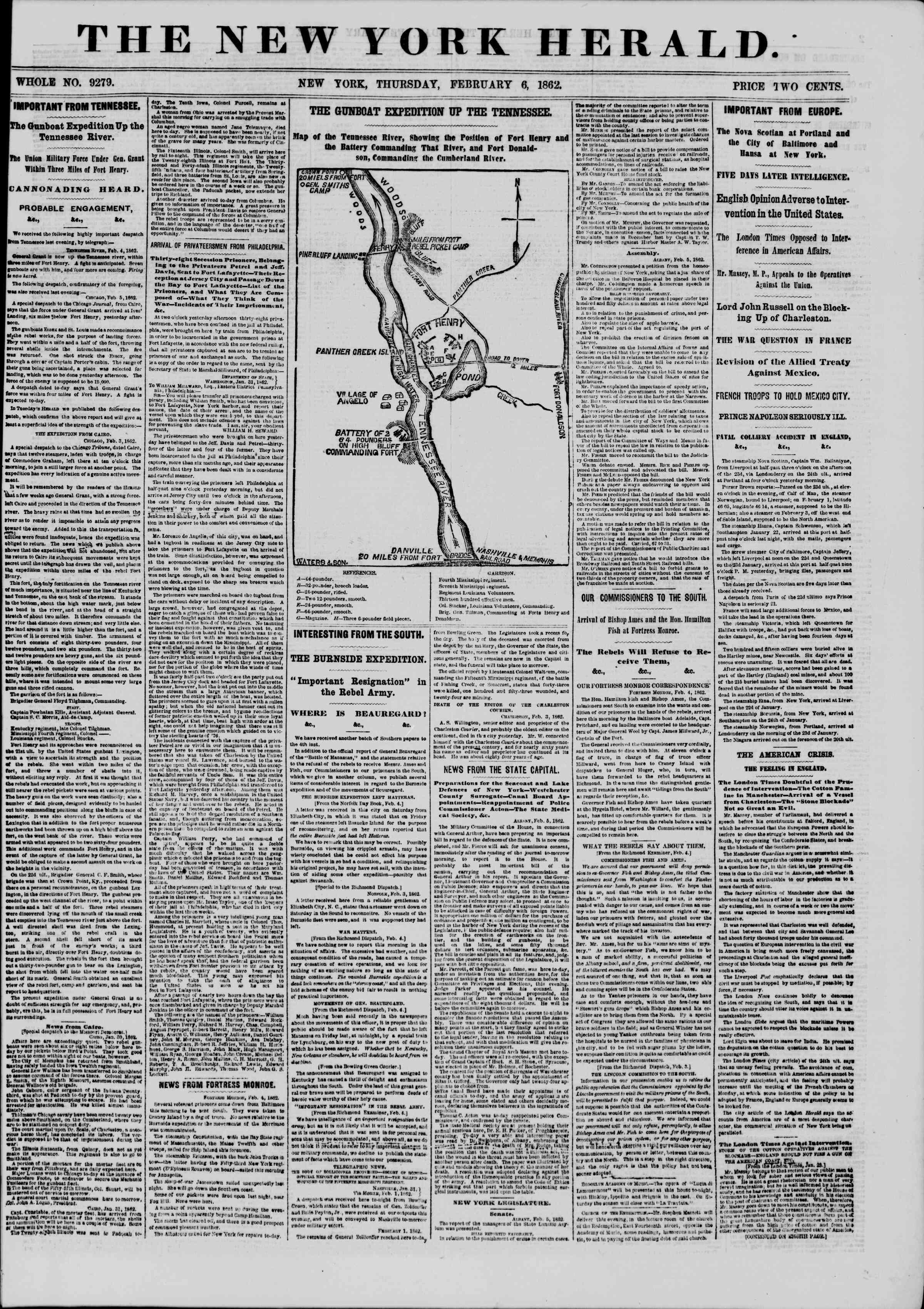 6 Şubat 1862 tarihli The New York Herald Gazetesi Sayfa 1