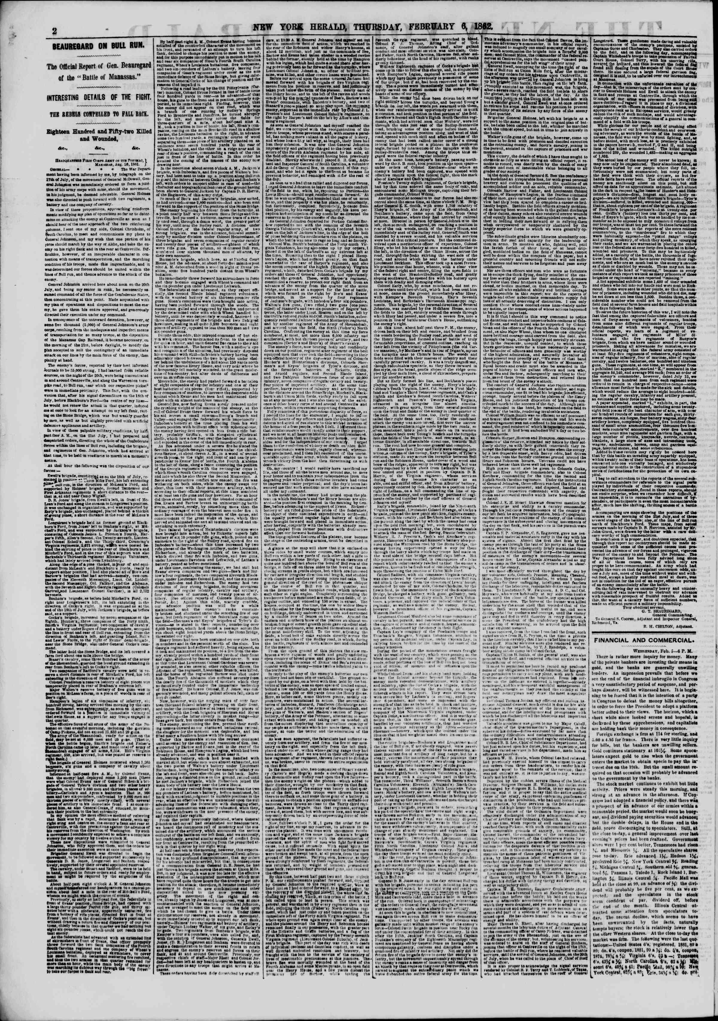Newspaper of The New York Herald dated February 6, 1862 Page 2