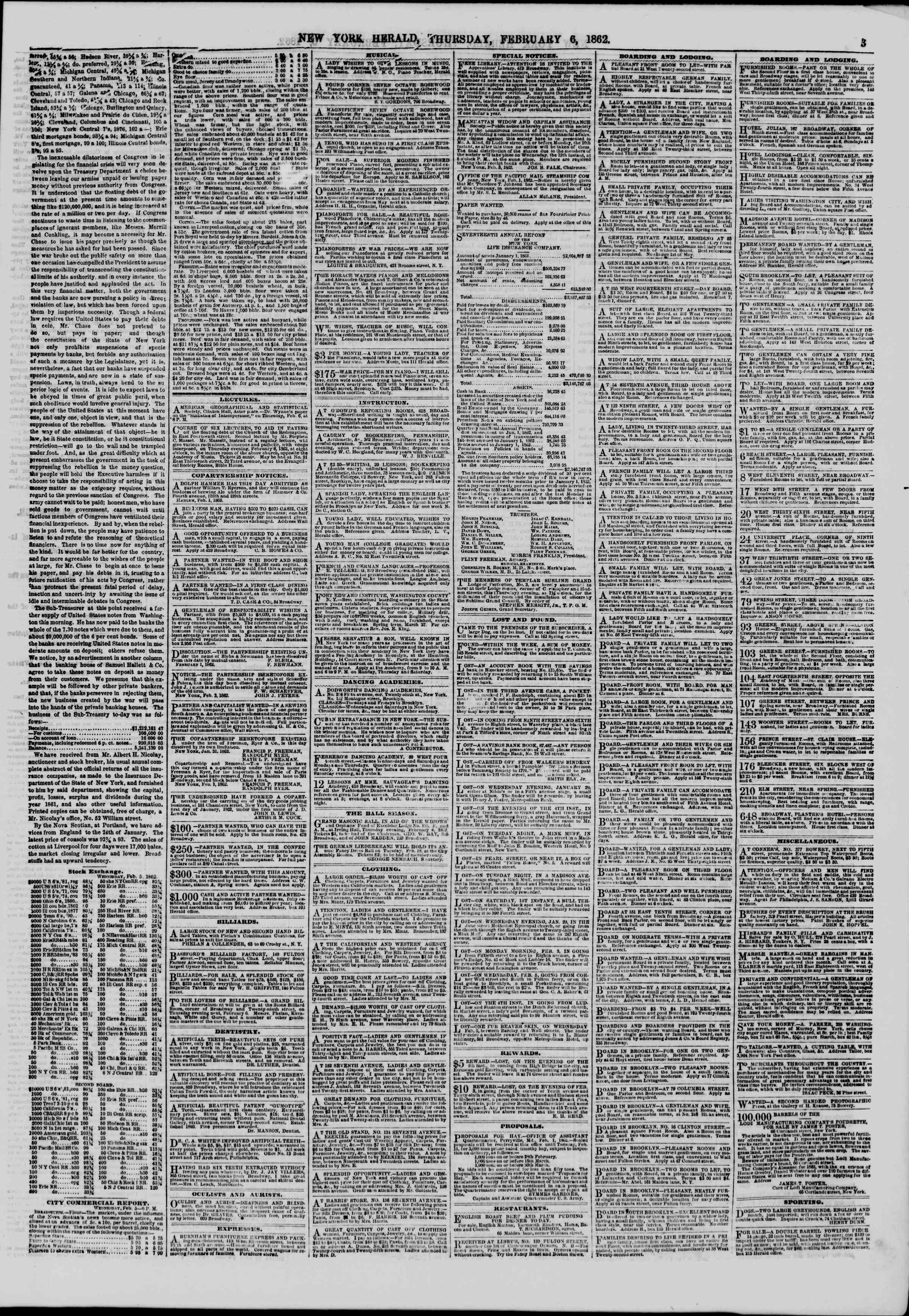Newspaper of The New York Herald dated February 6, 1862 Page 3