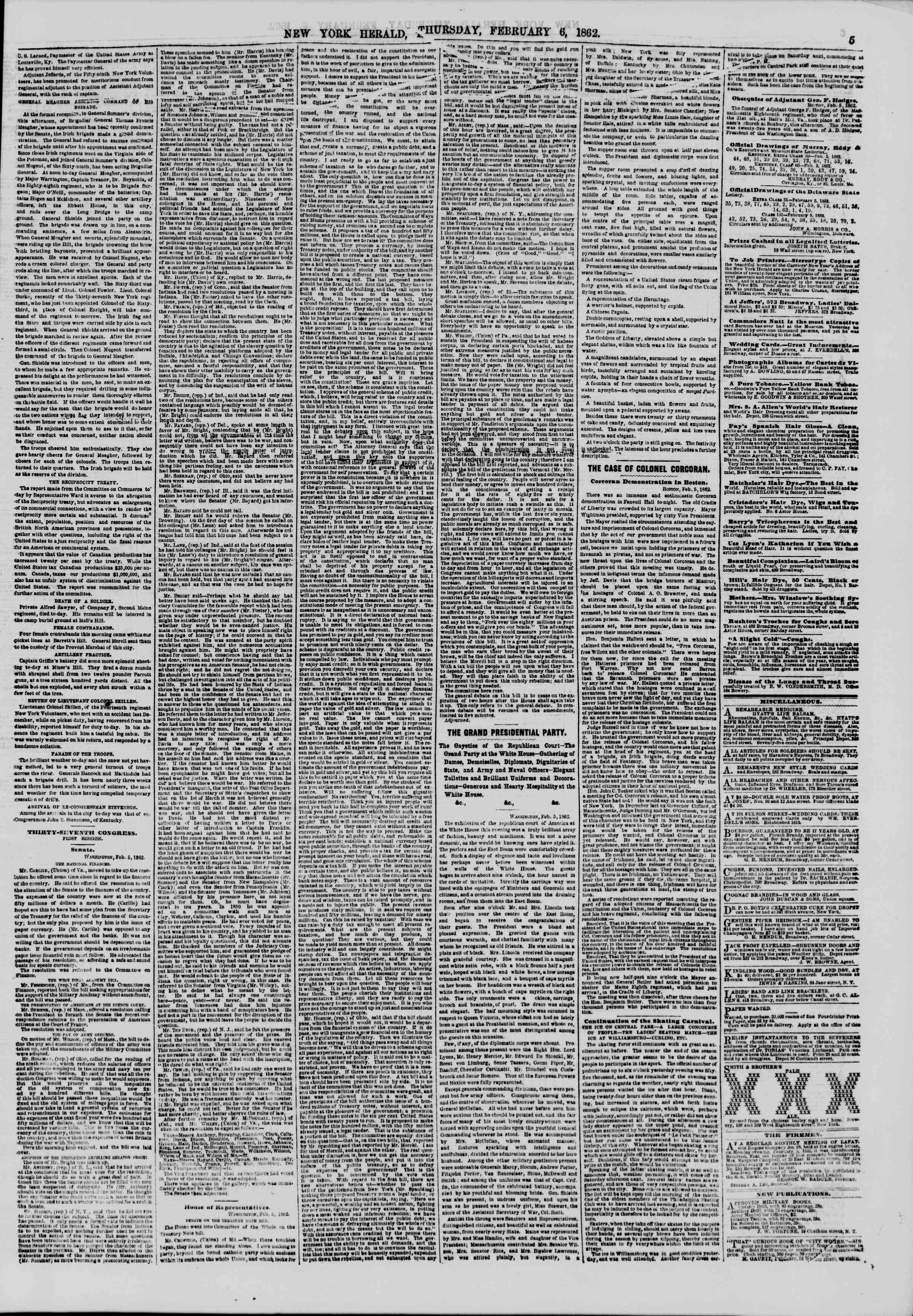 Newspaper of The New York Herald dated February 6, 1862 Page 5