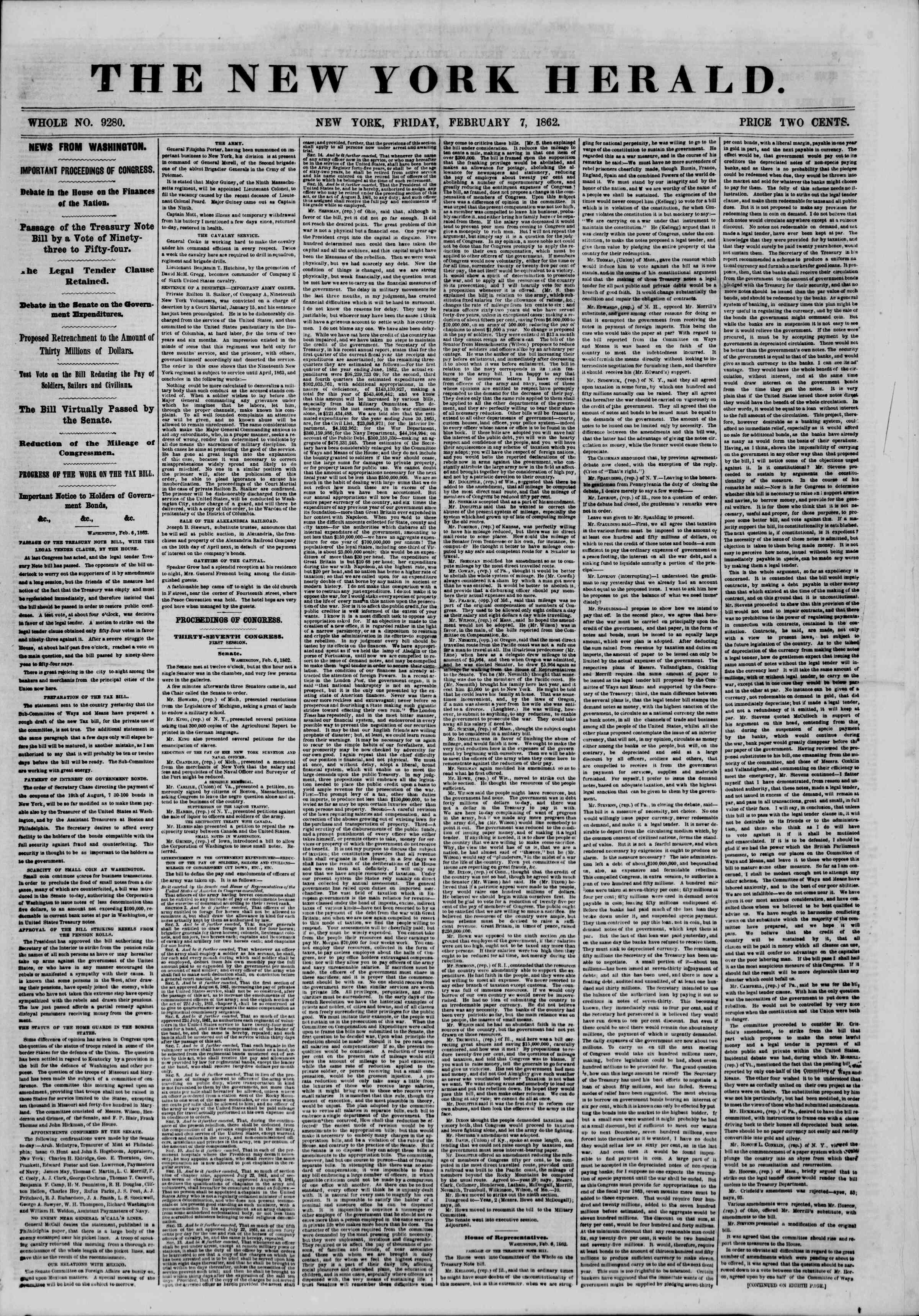 Newspaper of The New York Herald dated February 7, 1862 Page 1