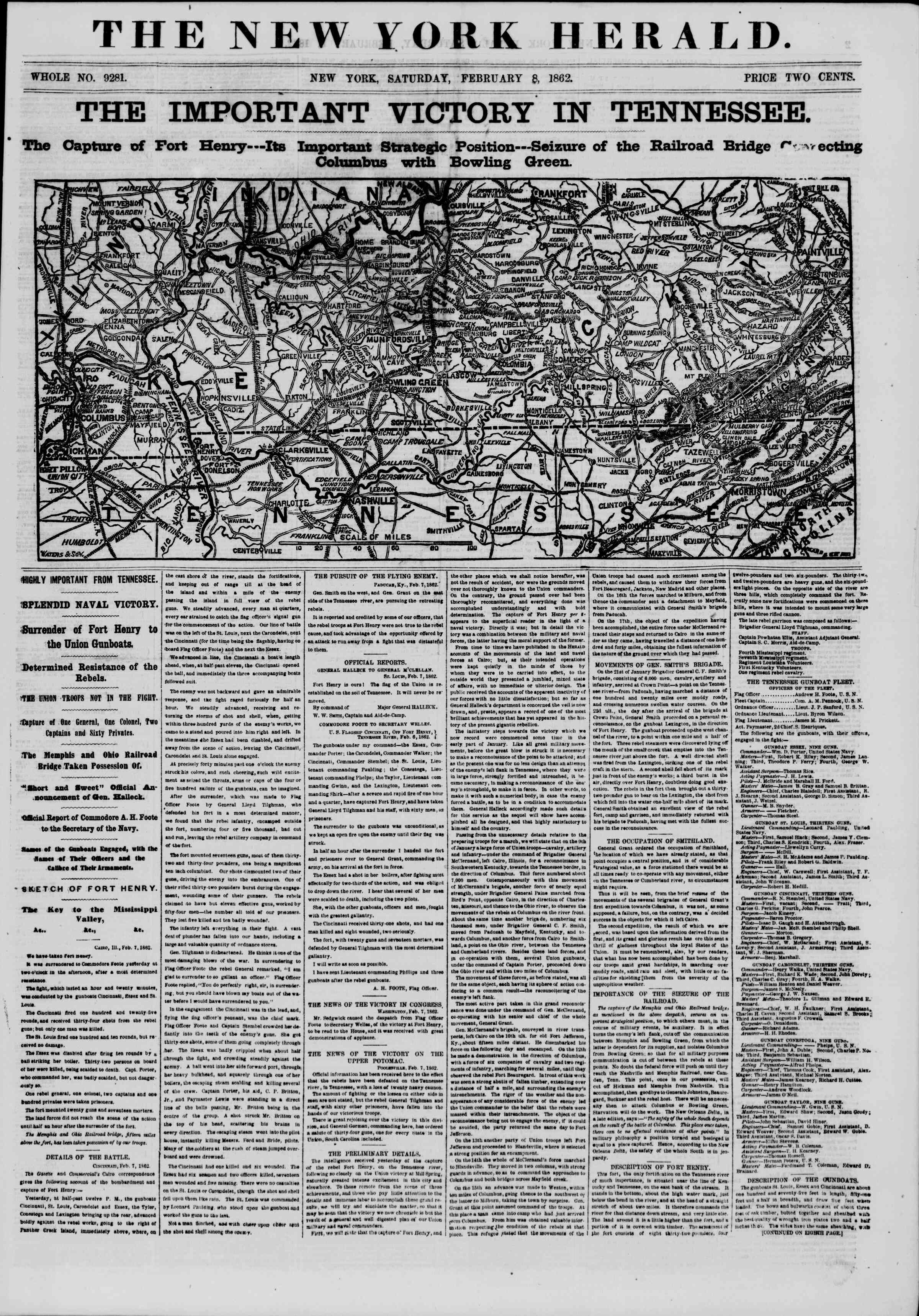 Newspaper of The New York Herald dated February 8, 1862 Page 1