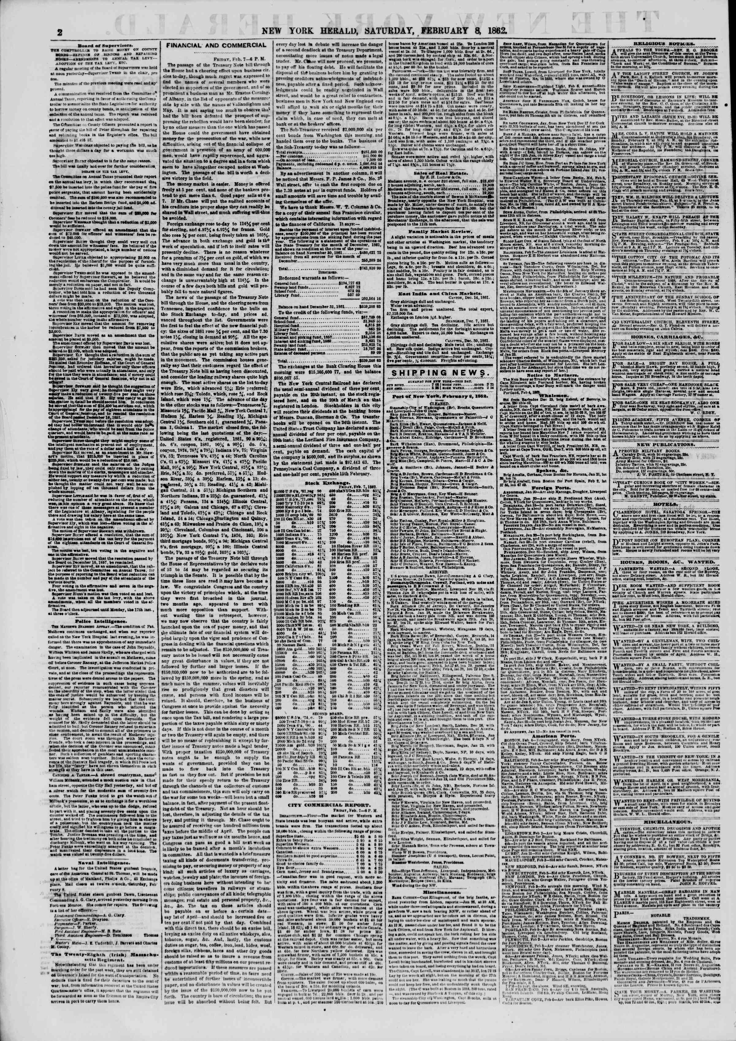 Newspaper of The New York Herald dated 8 Şubat 1862 Page 2
