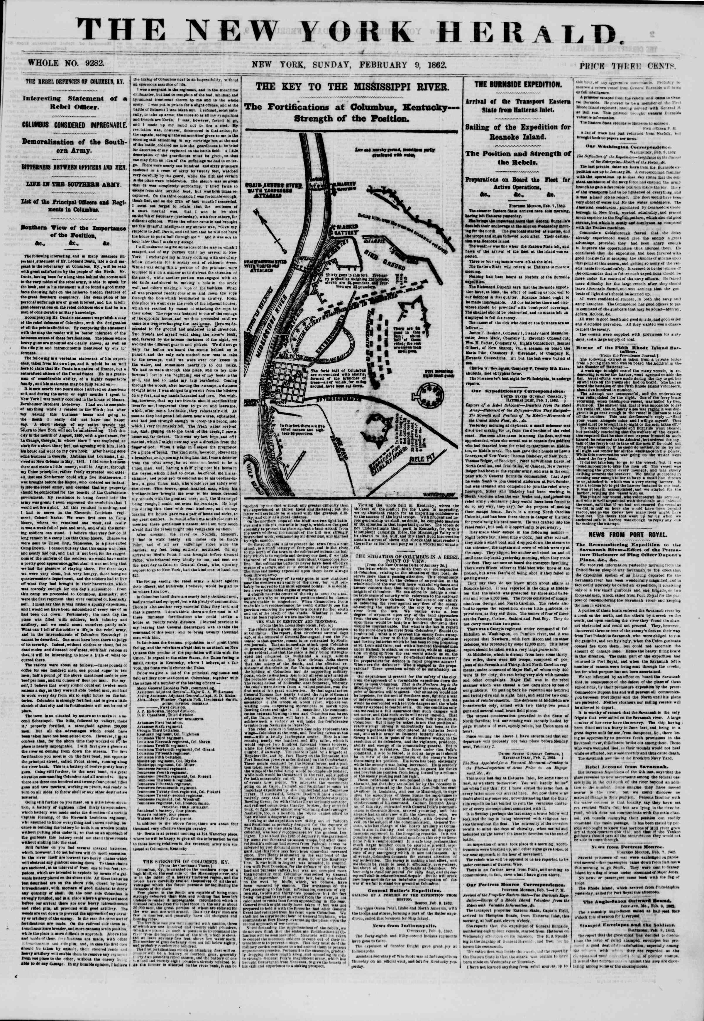 Newspaper of The New York Herald dated February 9, 1862 Page 1