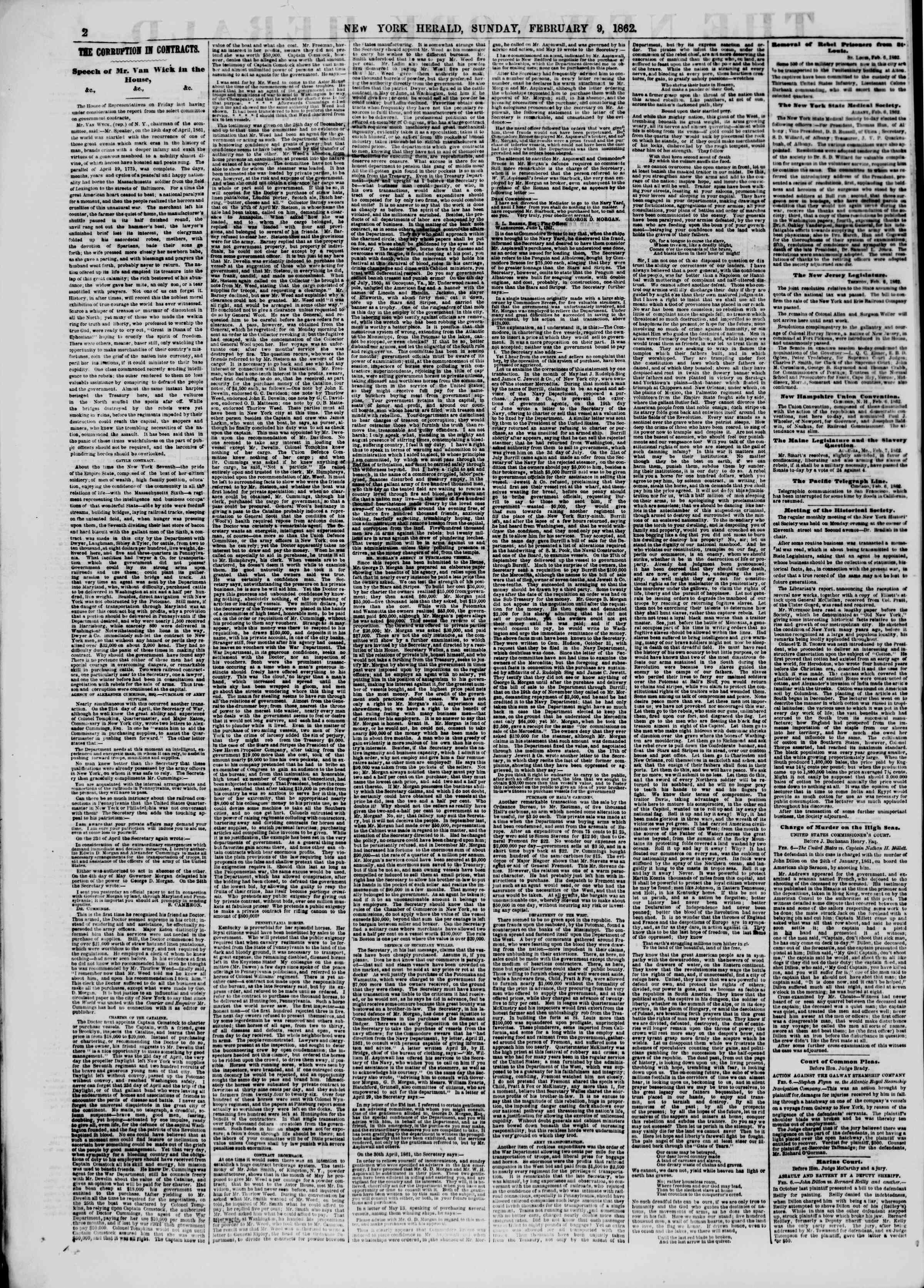 Newspaper of The New York Herald dated February 9, 1862 Page 2