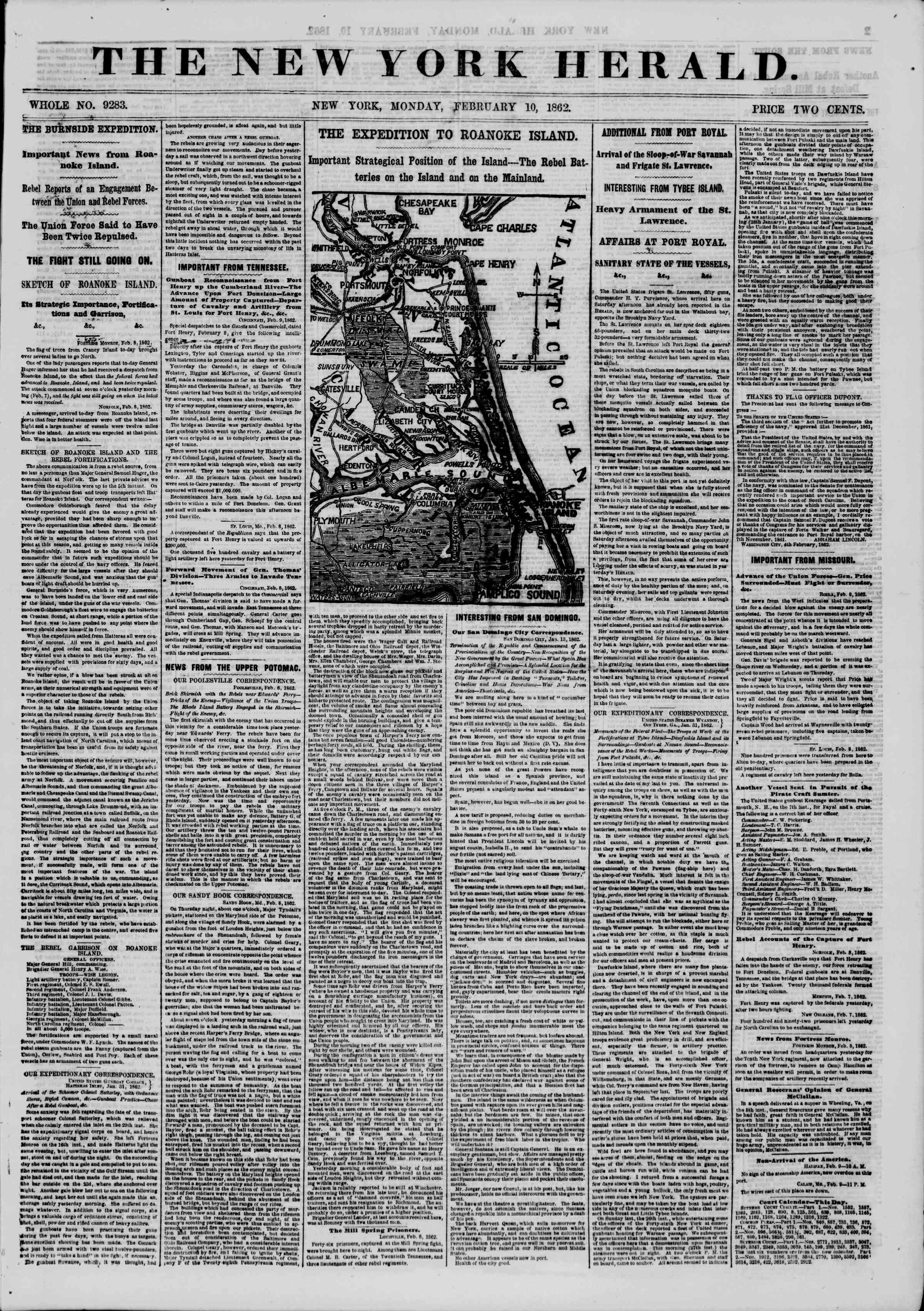 10 Şubat 1862 tarihli The New York Herald Gazetesi Sayfa 1