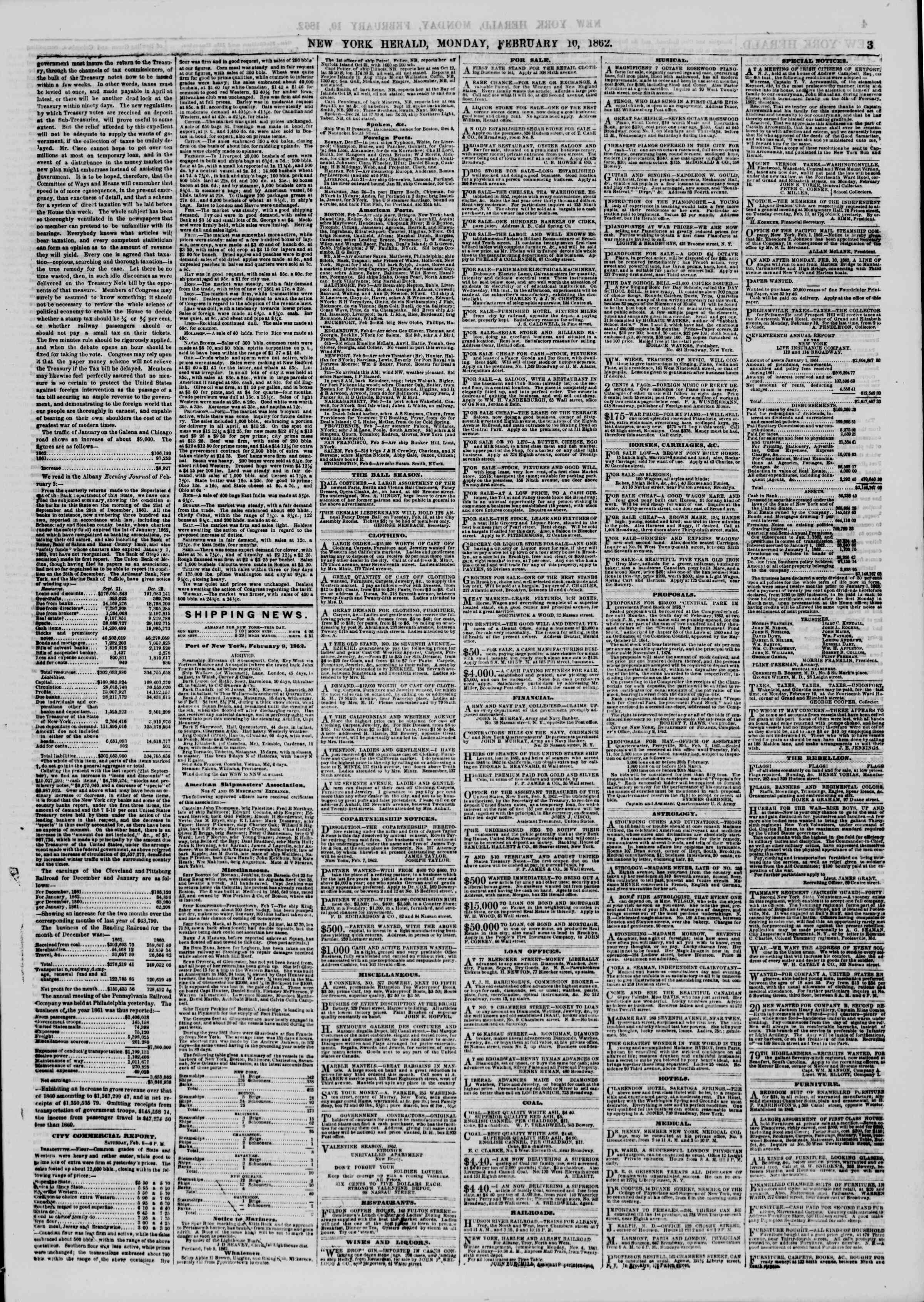 Newspaper of The New York Herald dated February 10, 1862 Page 3