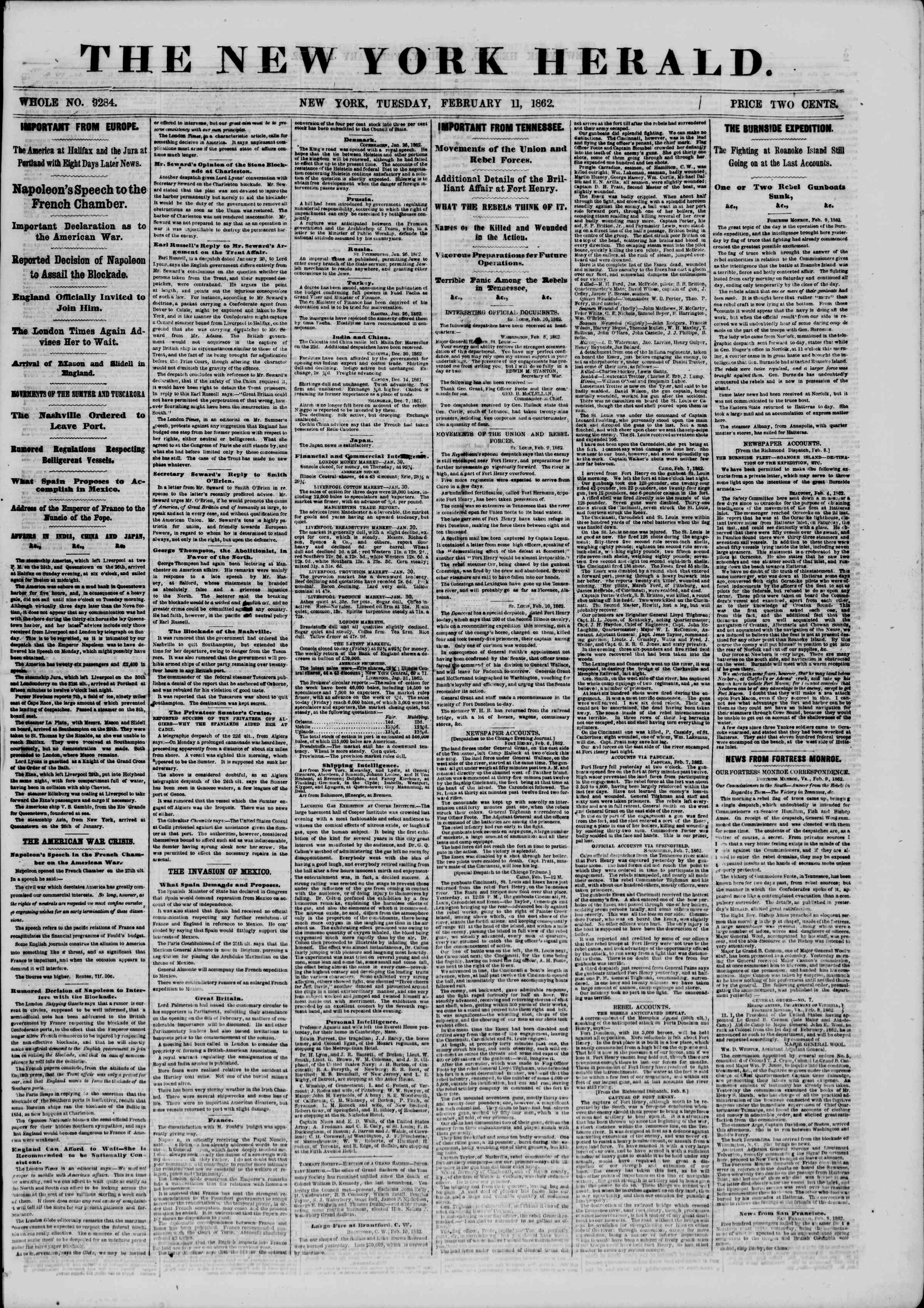 Newspaper of The New York Herald dated February 11, 1862 Page 1