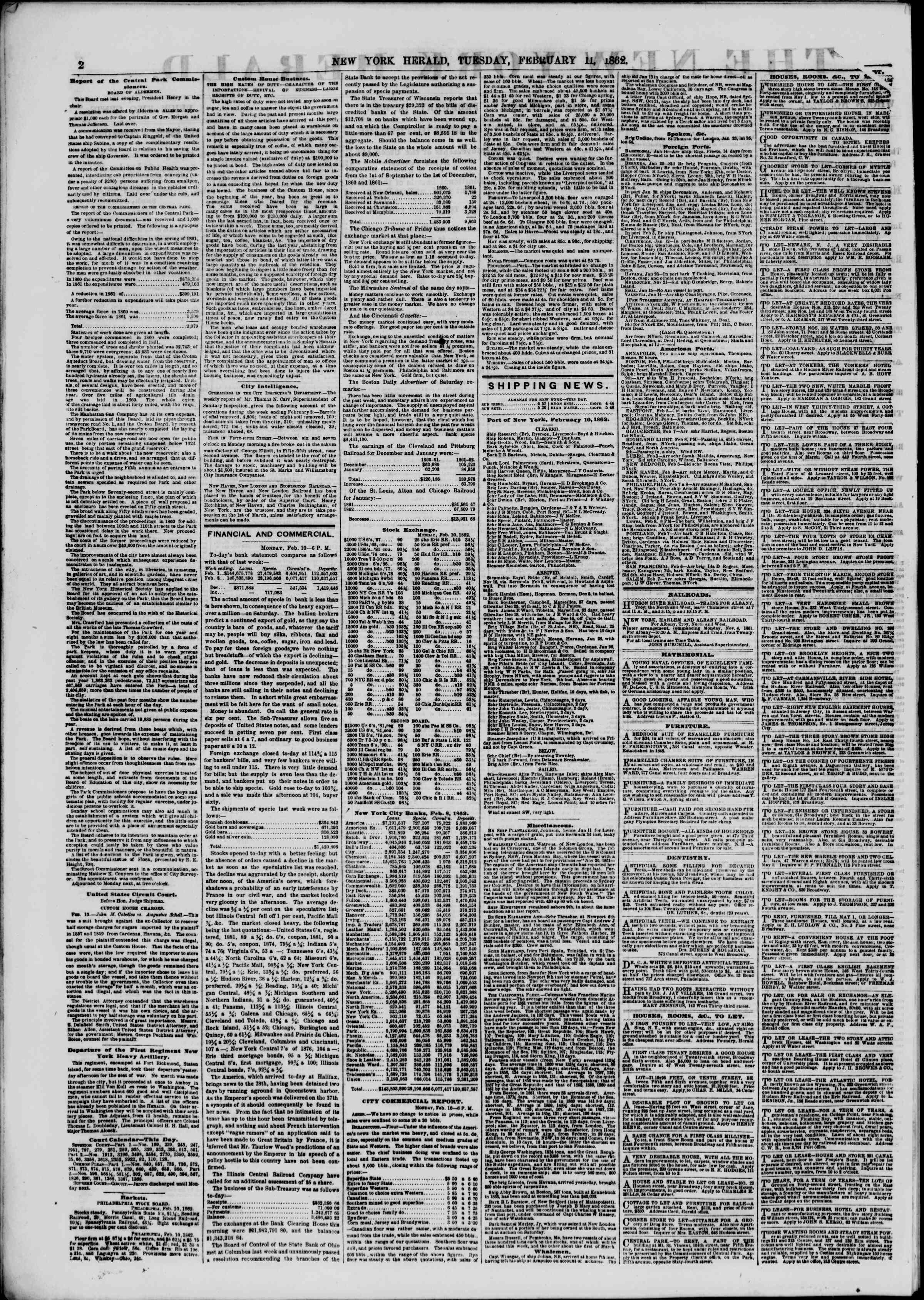 Newspaper of The New York Herald dated February 11, 1862 Page 2