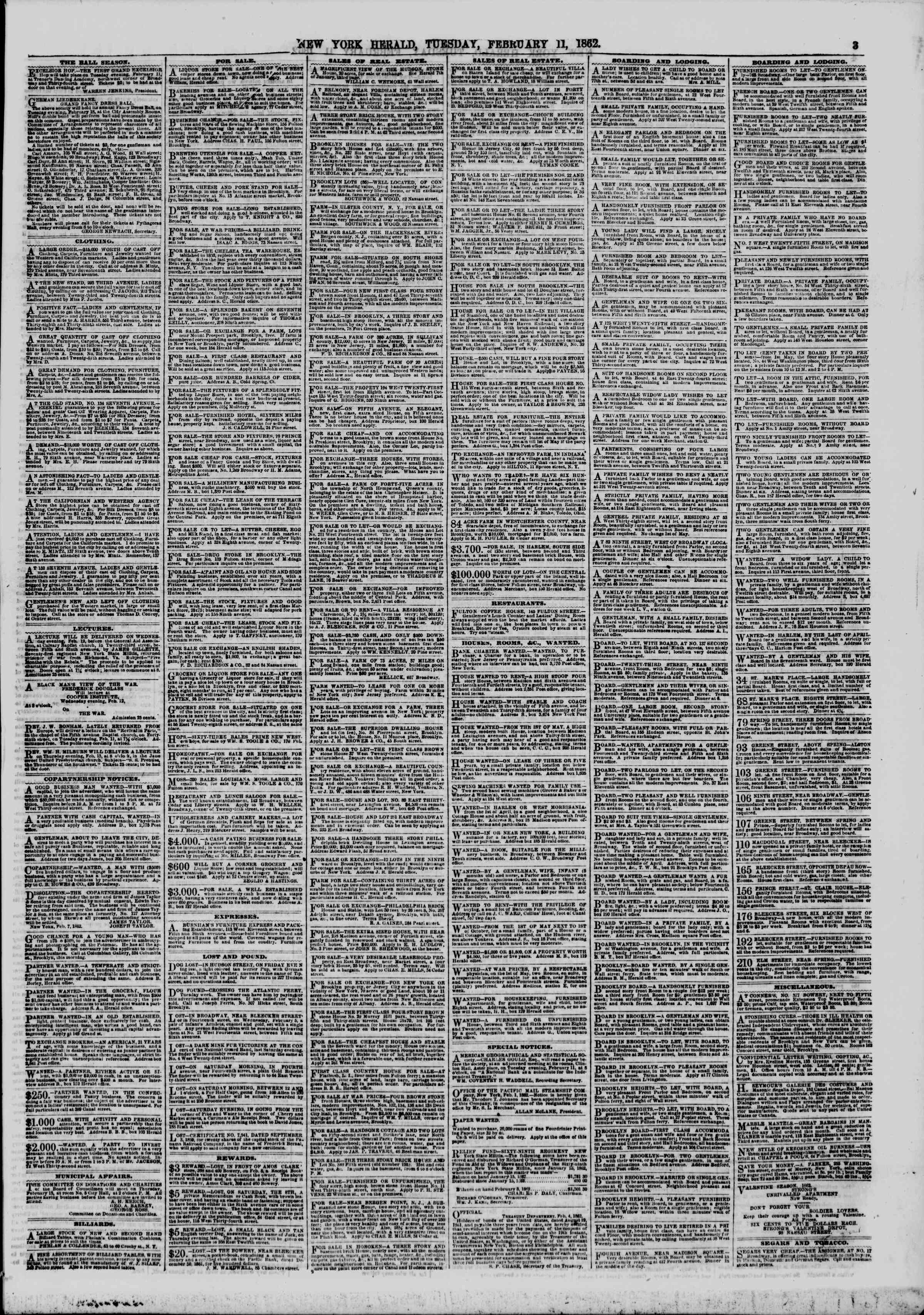 Newspaper of The New York Herald dated February 11, 1862 Page 3