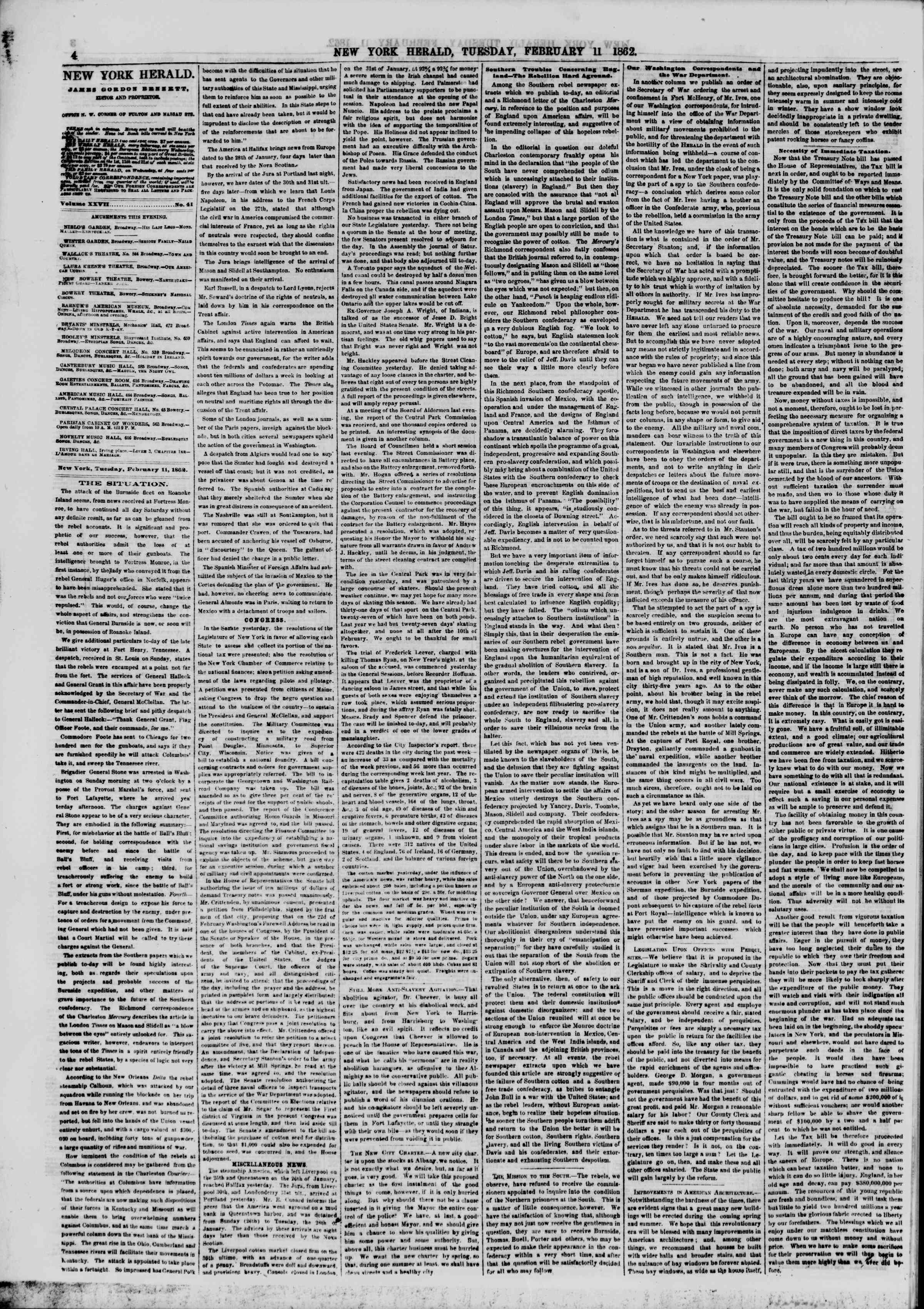 Newspaper of The New York Herald dated February 11, 1862 Page 4